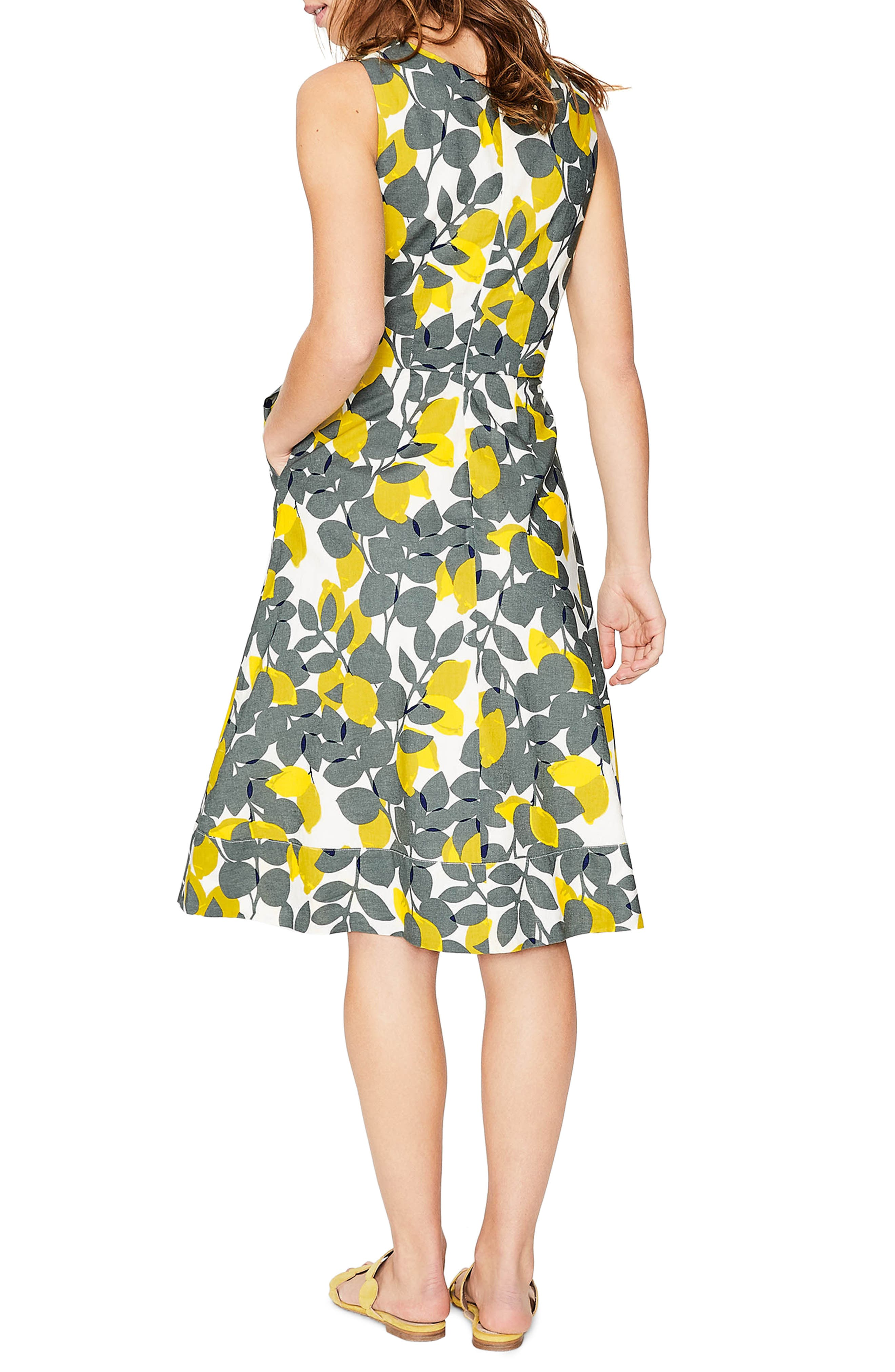 Jade Fit & Flare Linen Cotton Dress,                             Alternate thumbnail 3, color,                             Dark Sage Lemons