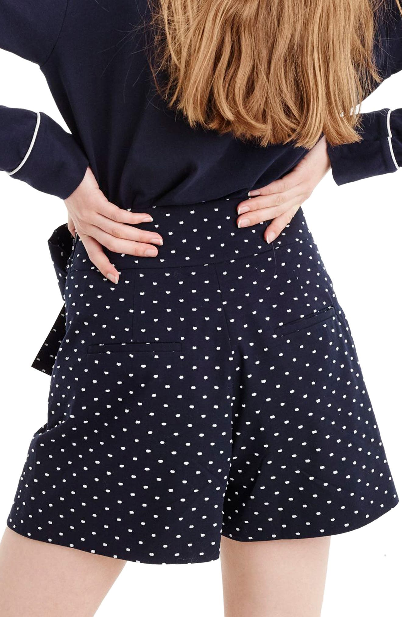 Tie Waist Dot Shorts,                             Alternate thumbnail 2, color,                             Navy White