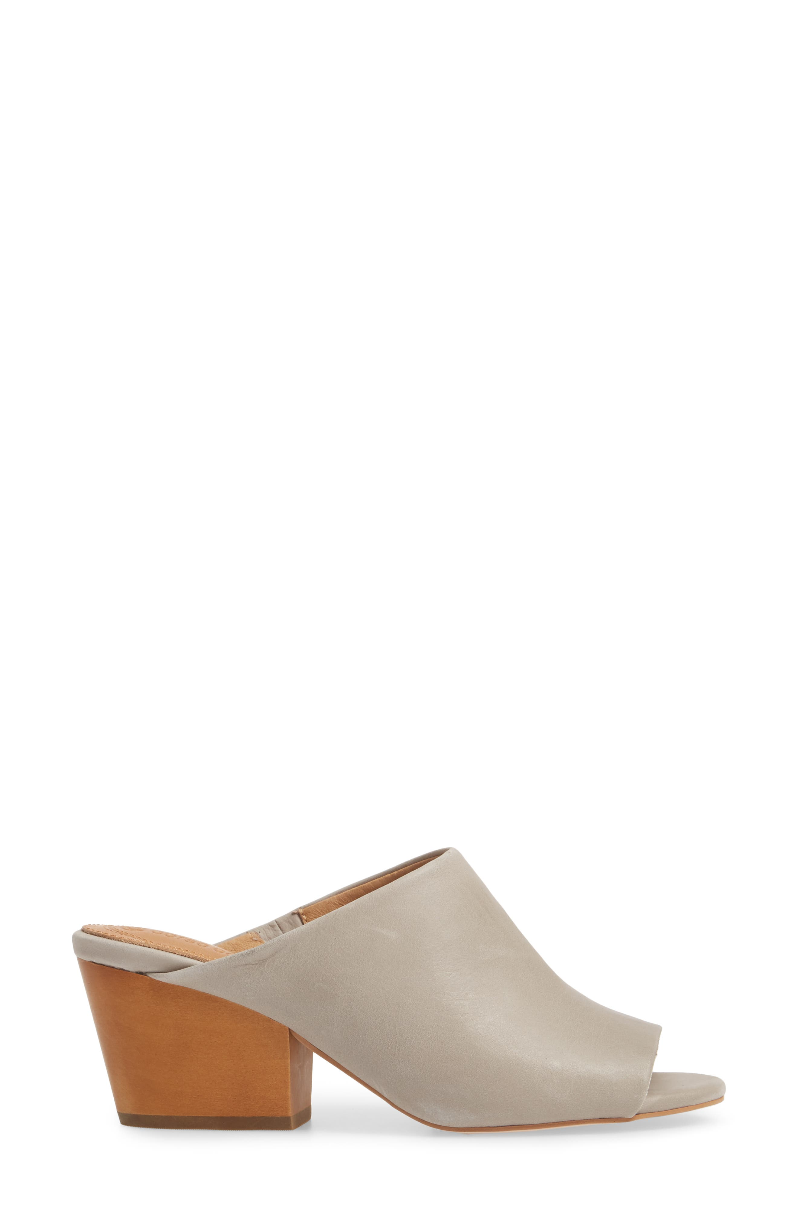 Intra Block Heel Mule,                             Alternate thumbnail 3, color,                             Grey Leather
