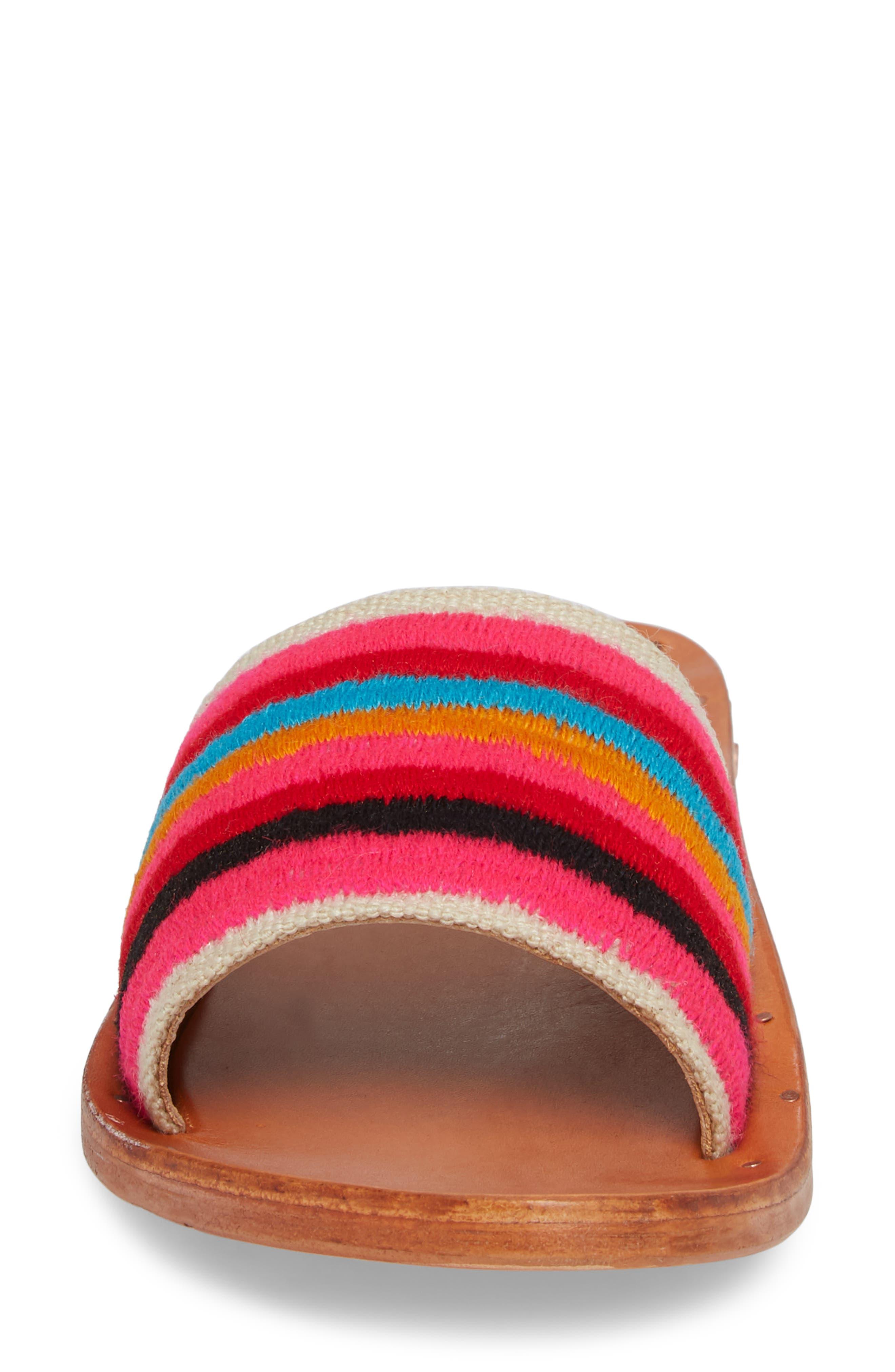 Lovebird Embroidered Slide Sandal,                             Alternate thumbnail 4, color,                             Multi/ Tan