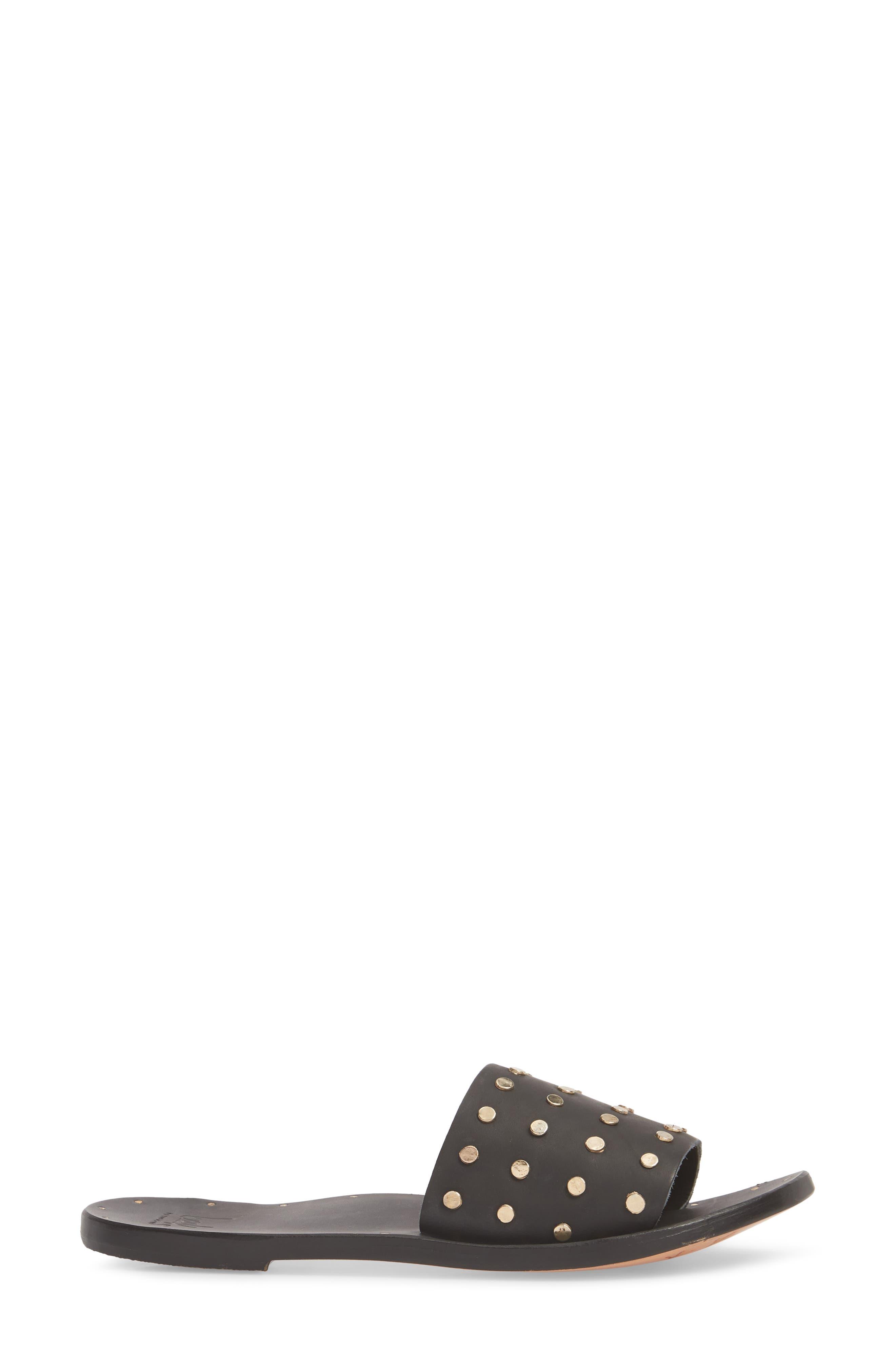 Lovebird Studded Slide Sandal,                             Alternate thumbnail 3, color,                             Black/ Black