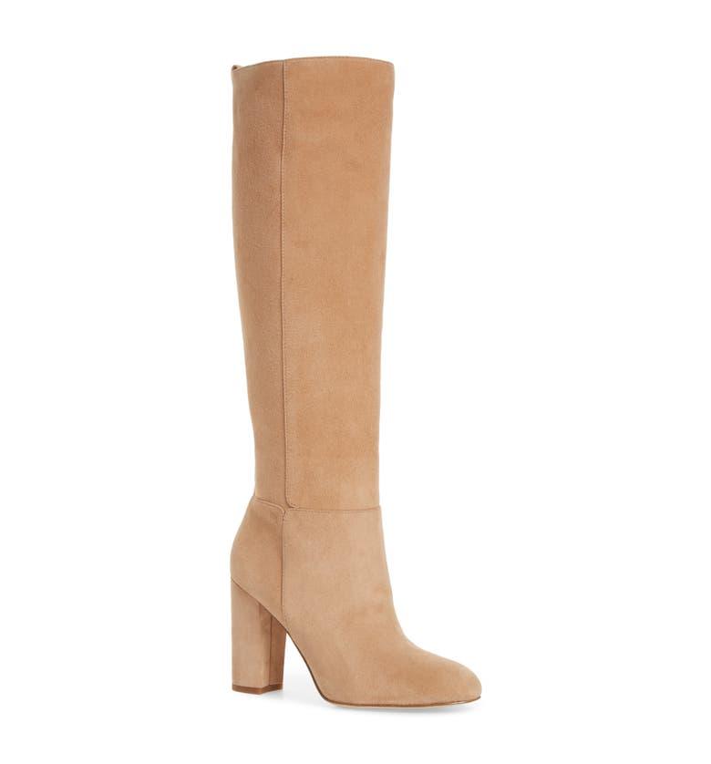 Caprice Knee-High Boot,                         Main,                         color, Golden Caramel Suede
