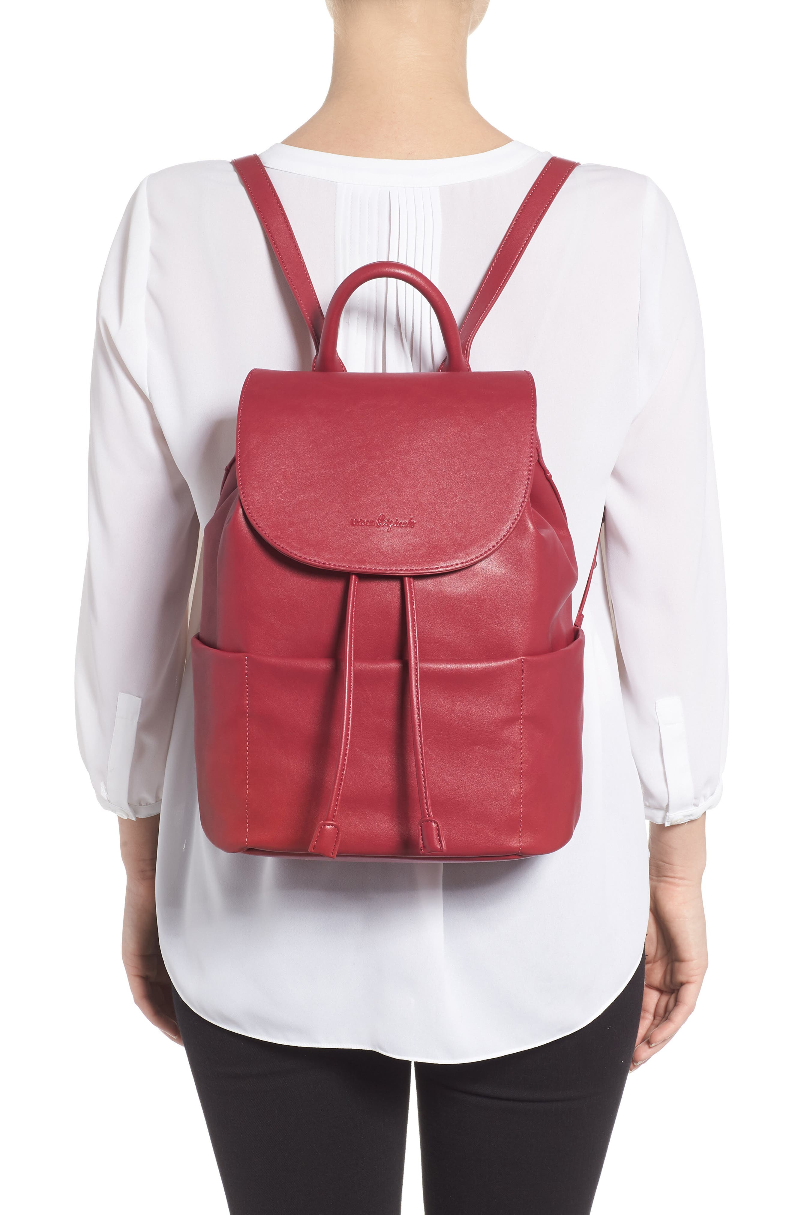 Splendour Vegan Leather Backpack,                             Alternate thumbnail 2, color,                             Cranberry