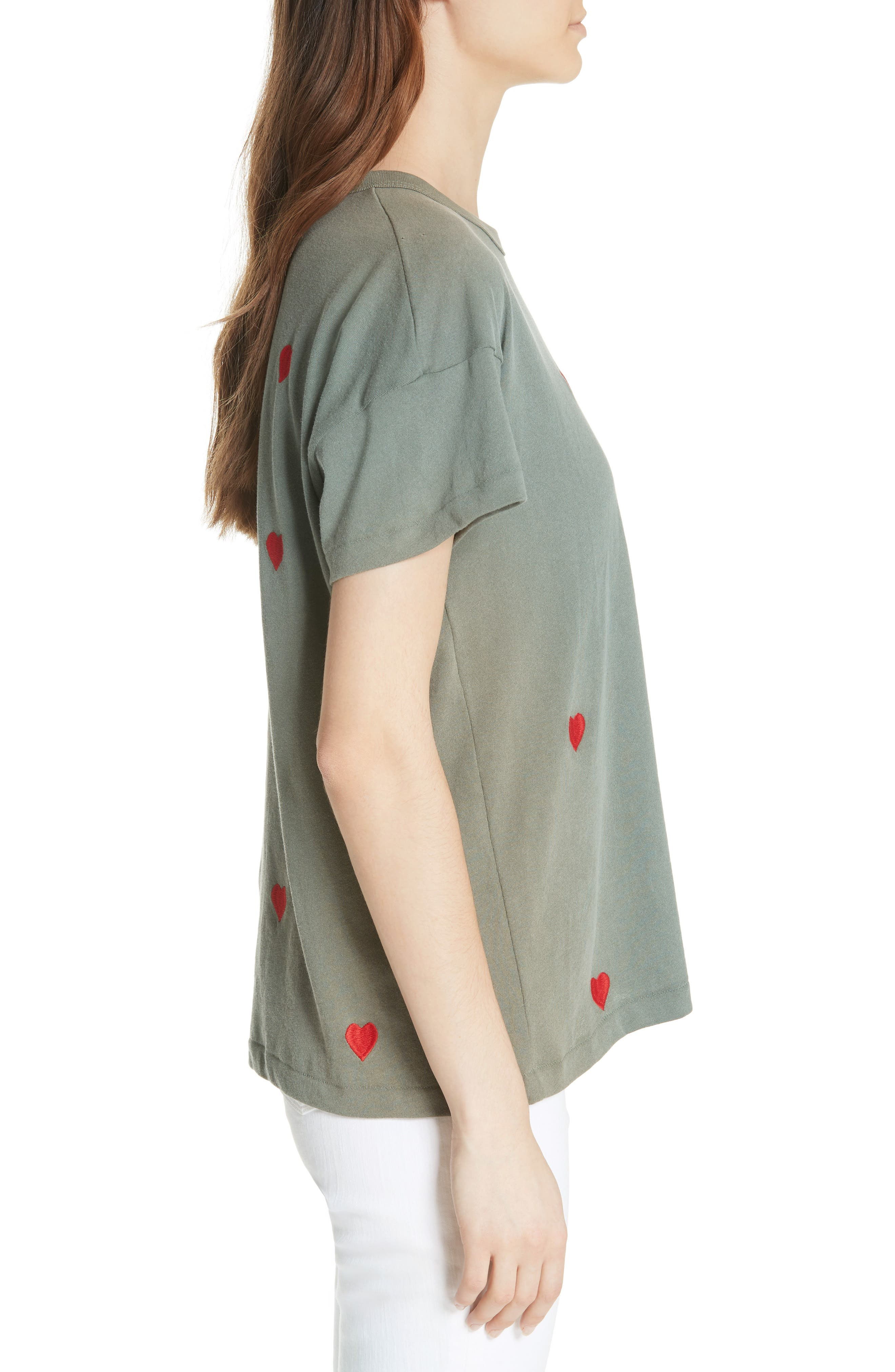 The Embroidered Boxy Crew Tee,                             Alternate thumbnail 3, color,                             Moss Army/ Red Hearts