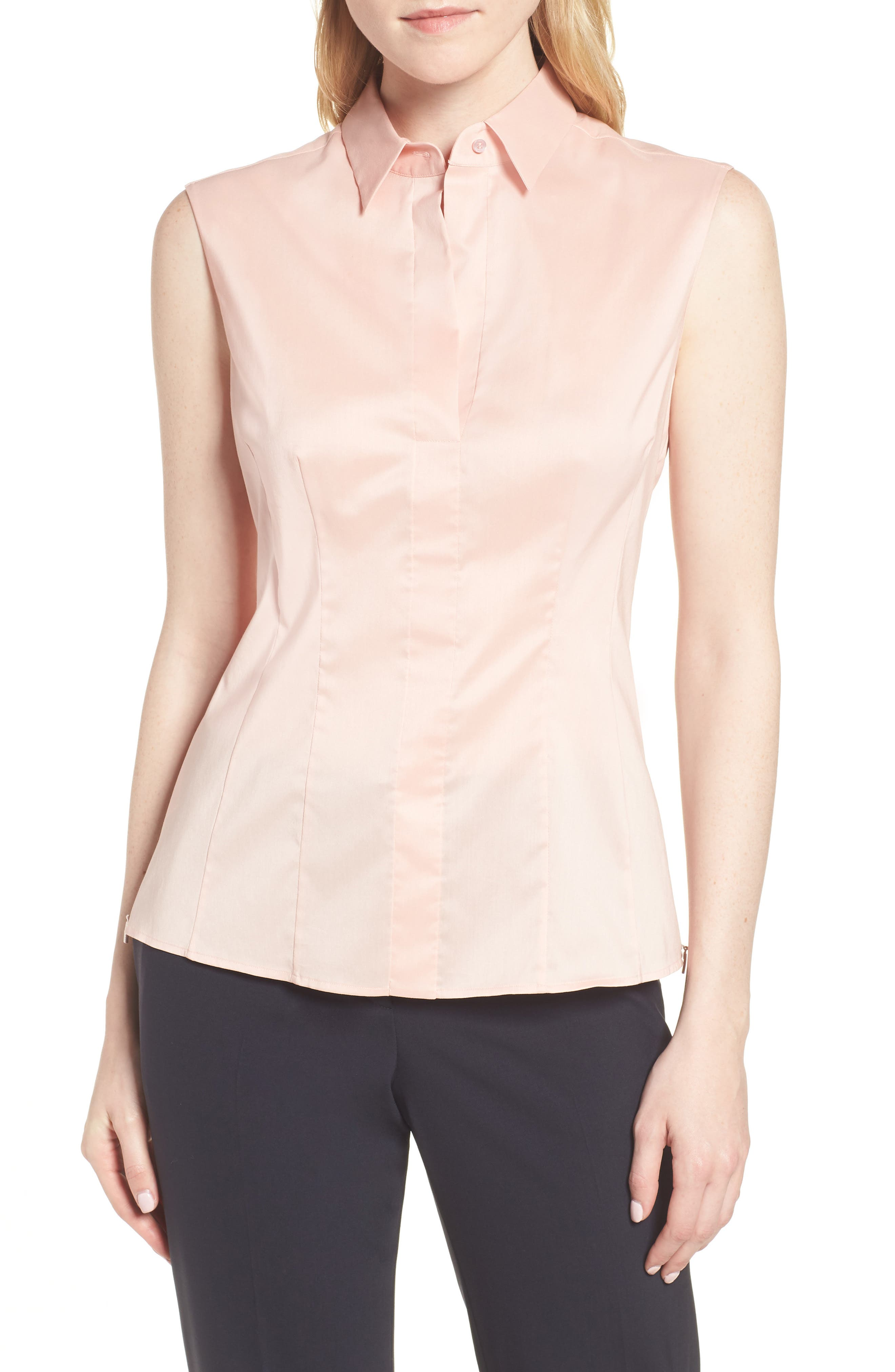Bashiva Stretch Poplin Blouse,                             Main thumbnail 1, color,                             Blush