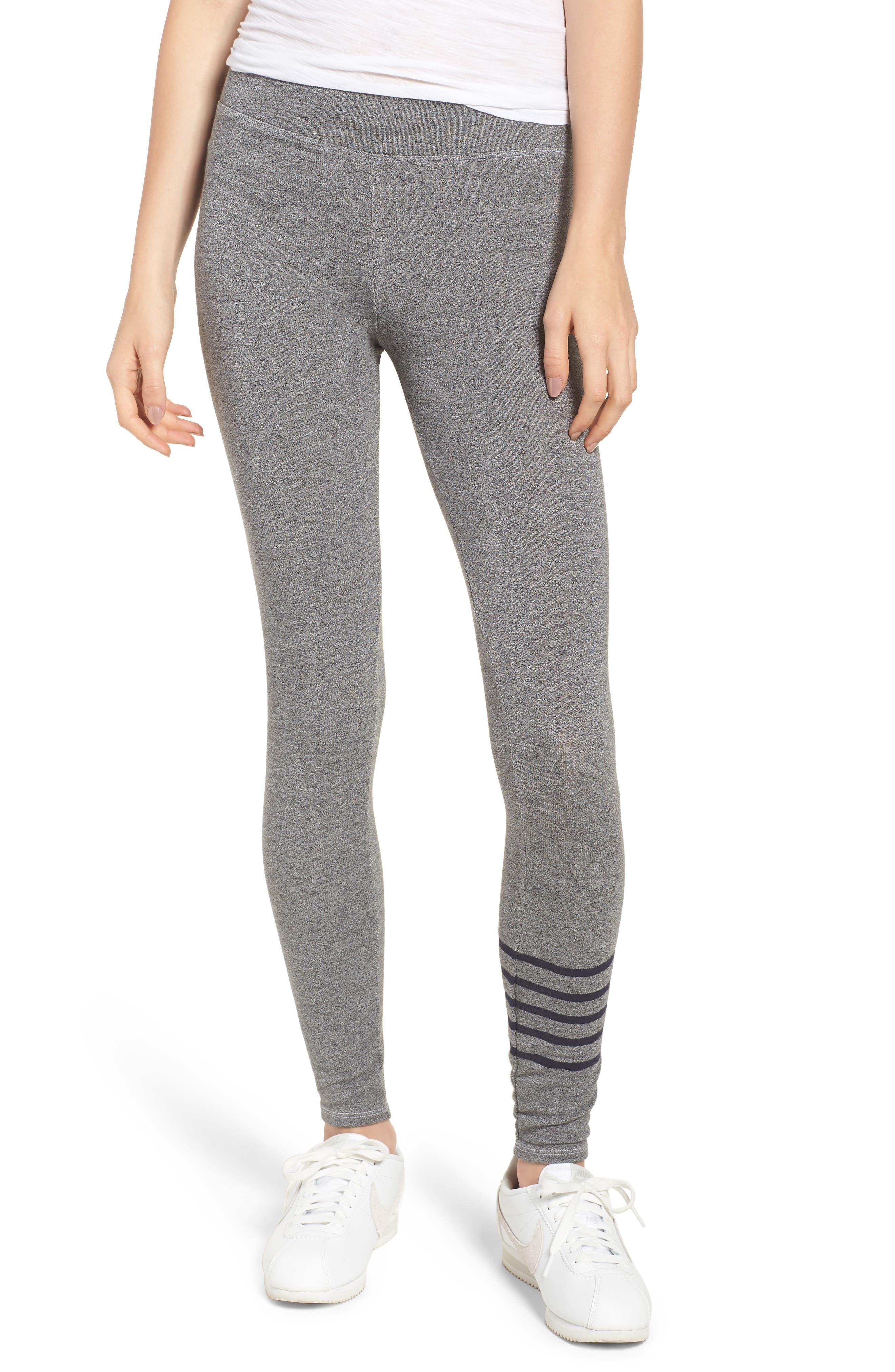 Stripe Yoga Pants,                             Main thumbnail 1, color,                             Heather Grey