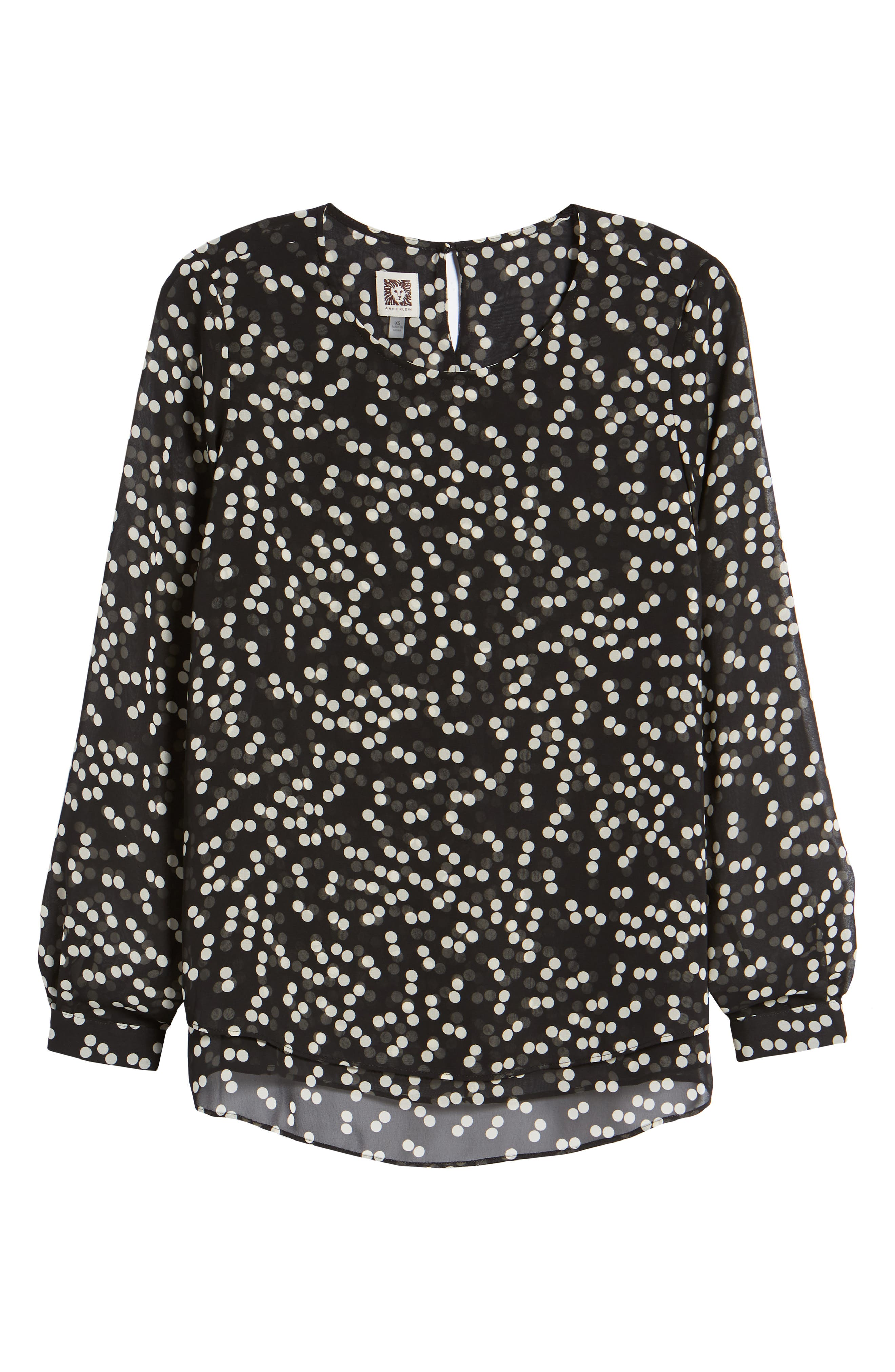 Double Layer Dot Print Blouse,                             Alternate thumbnail 7, color,                             Black/ Parchment