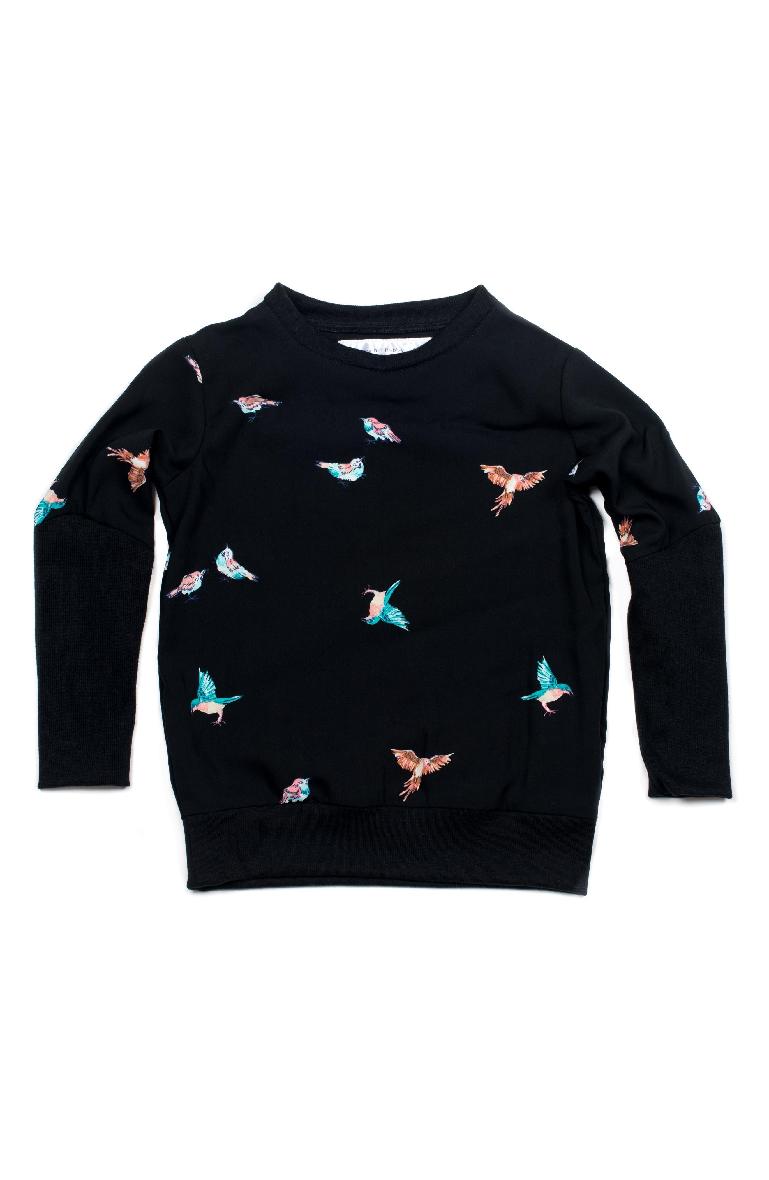 Summer Bird Woven Shirt,                             Main thumbnail 1, color,                             Black/ Multi