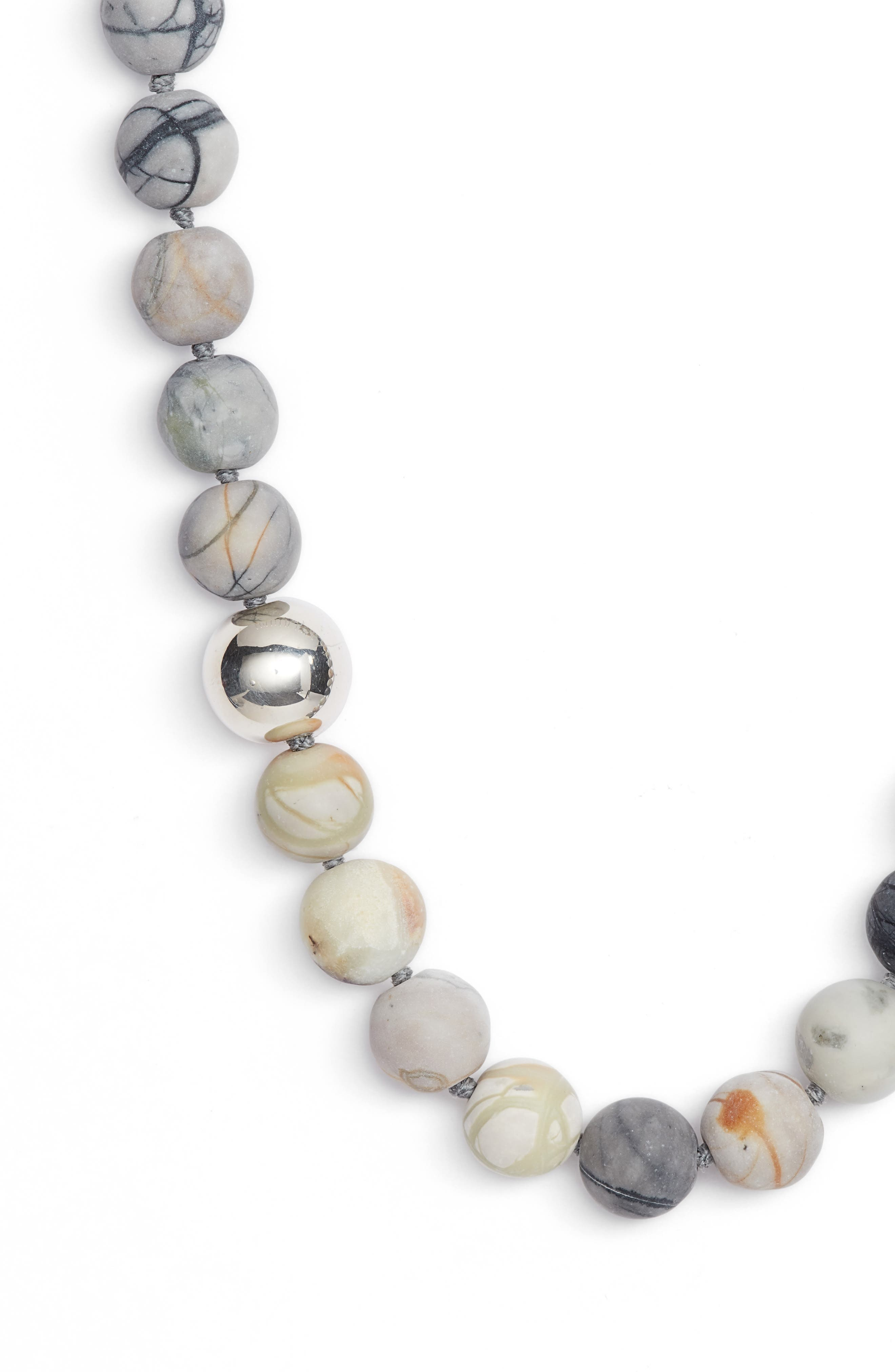 Matte Picasso Bead Necklace,                             Alternate thumbnail 2, color,                             Stone/ Silver