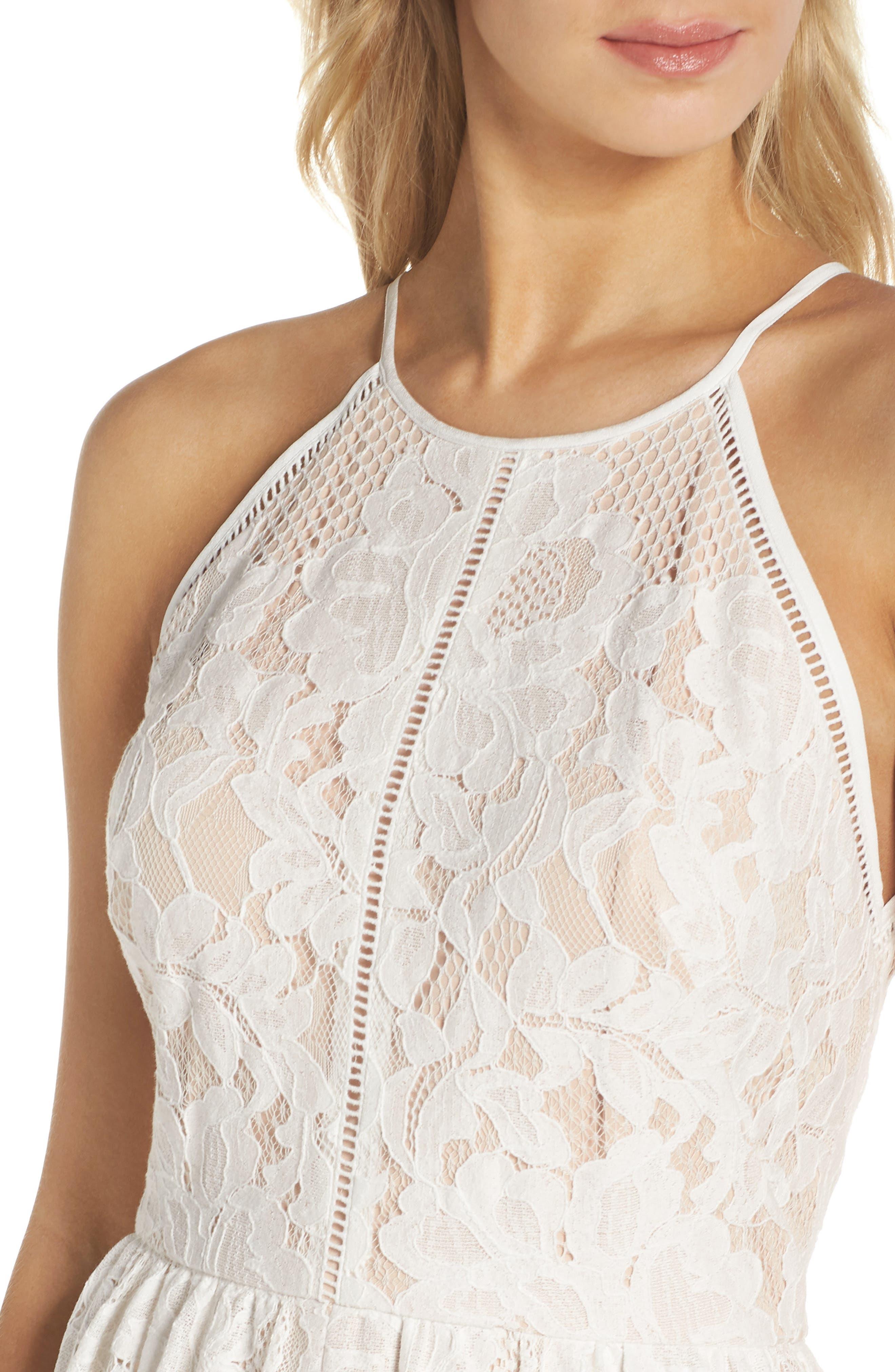 Front Slit Lace Maxi Dress,                             Alternate thumbnail 4, color,                             Ivory