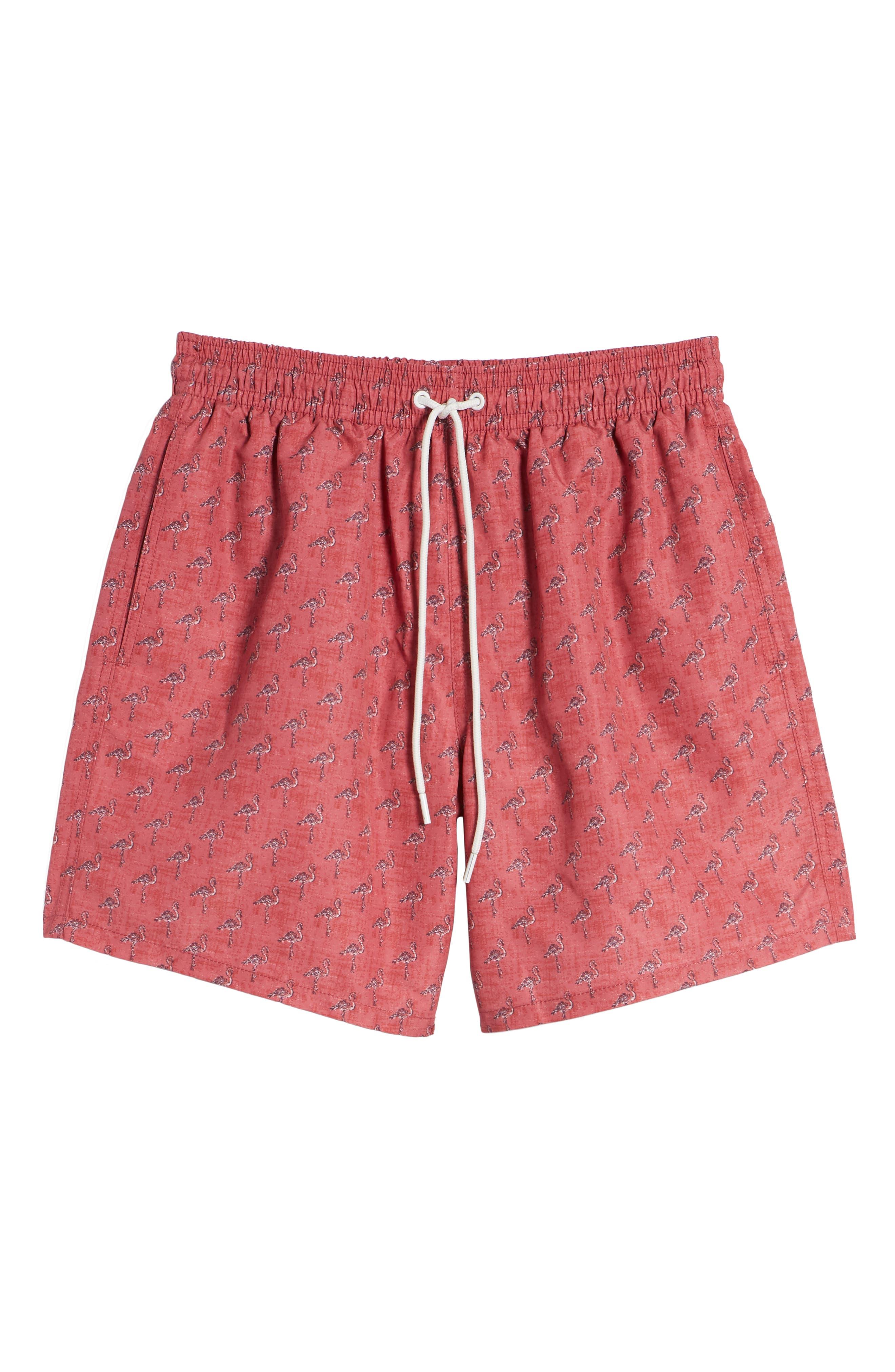 Dryden Regular Fit Print Swim Trunks,                             Alternate thumbnail 6, color,                             Pomegranate