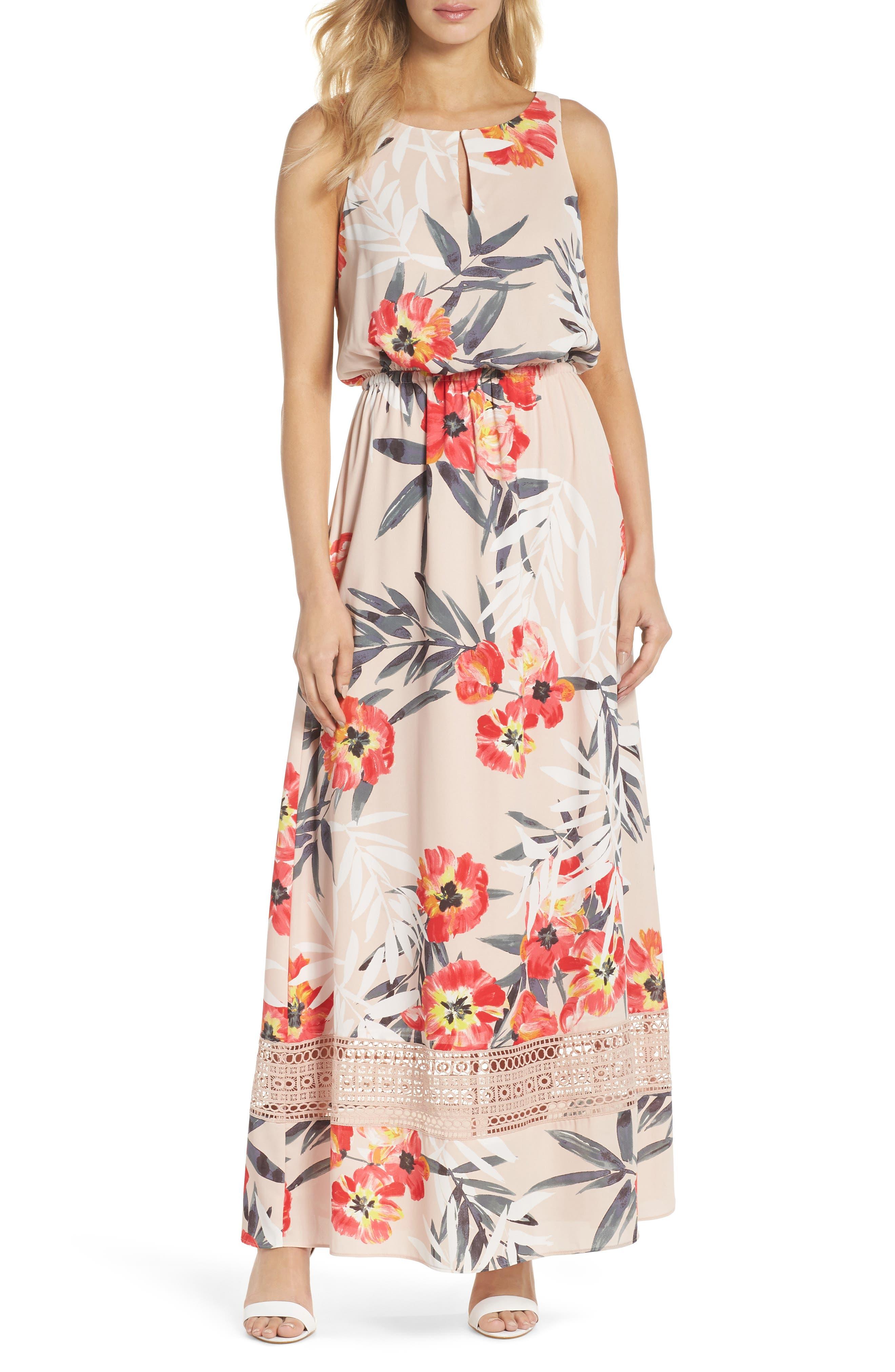 Tropical Breeze Print Maxi Dress,                             Main thumbnail 1, color,                             Geranium Multi