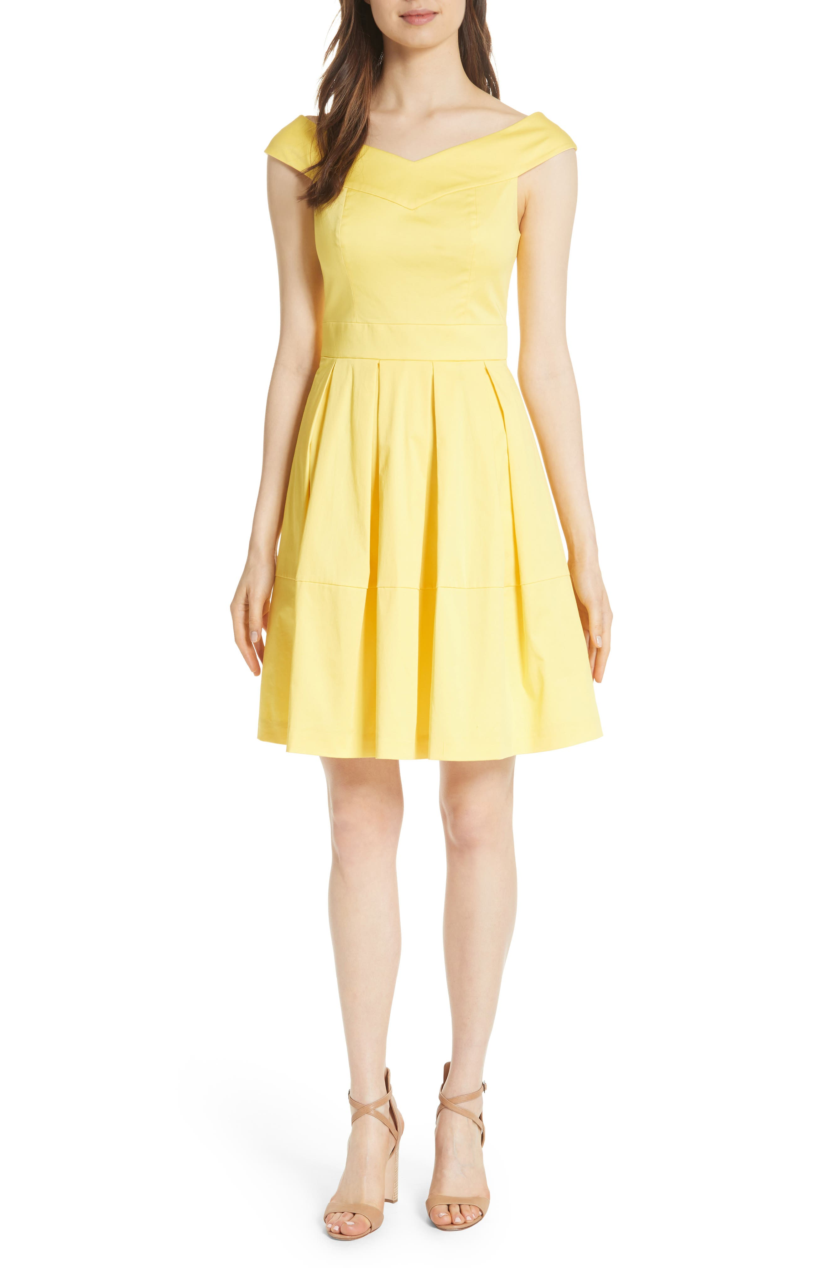 Jullee Off the Shoulder Stretch Cotton Dress,                             Main thumbnail 1, color,                             Yellow