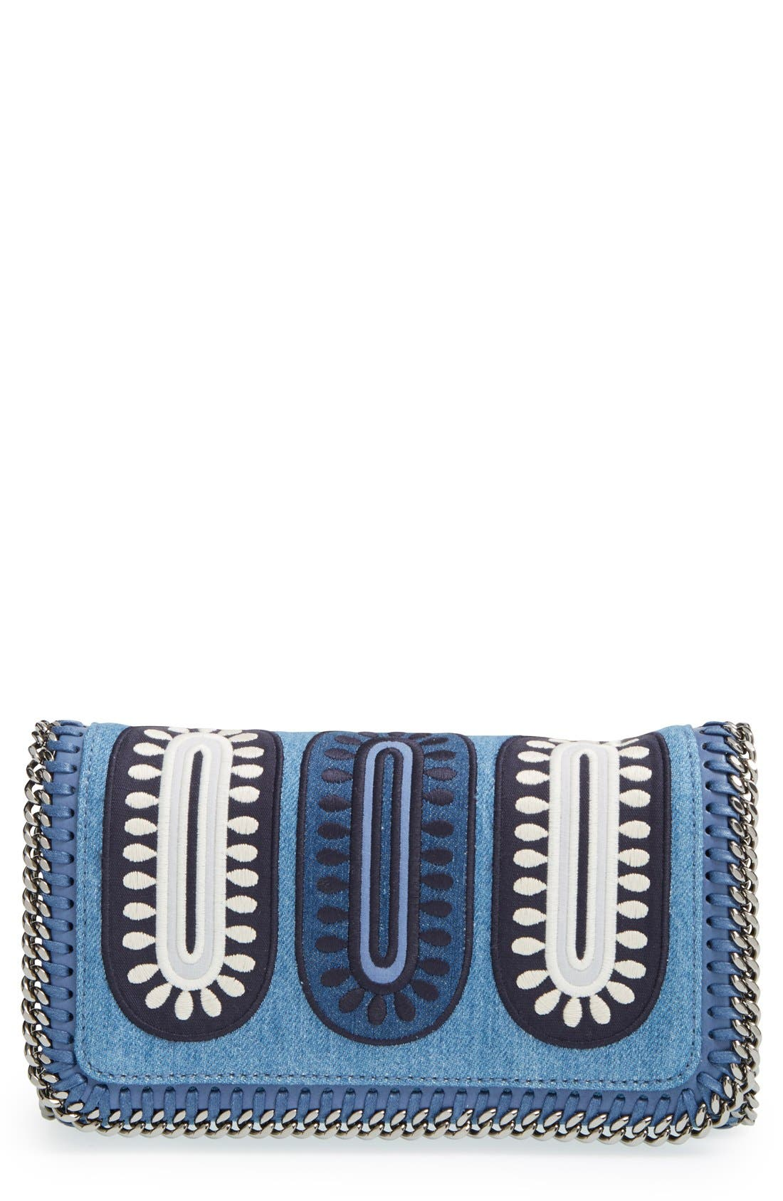 'Falabella - Adorned' Denim Crossbody Bag,                             Main thumbnail 1, color,                             Blue