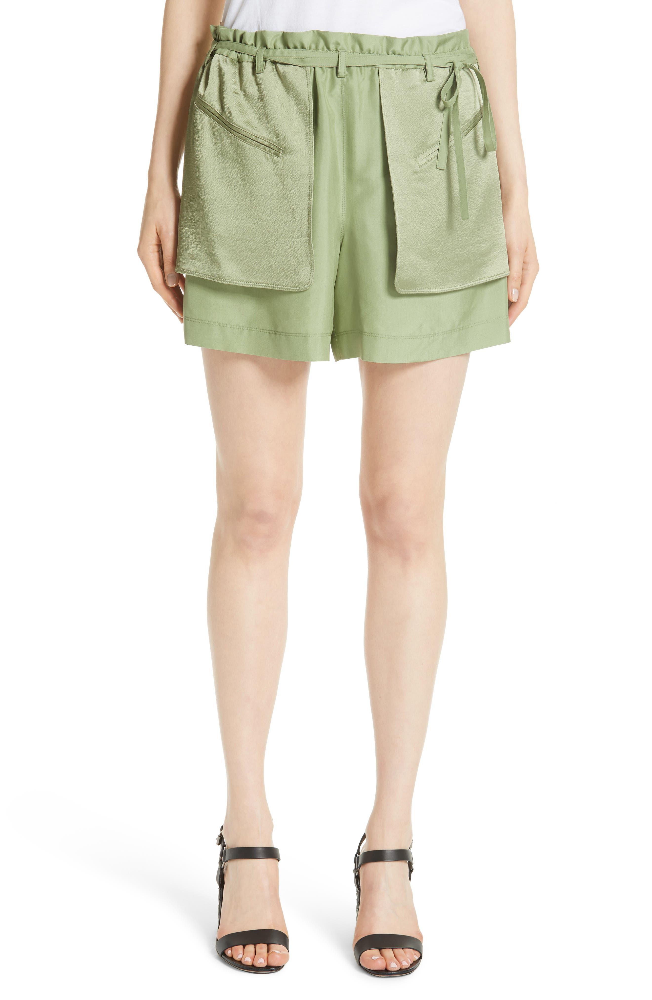 Satin Pocket Shorts,                         Main,                         color, Green