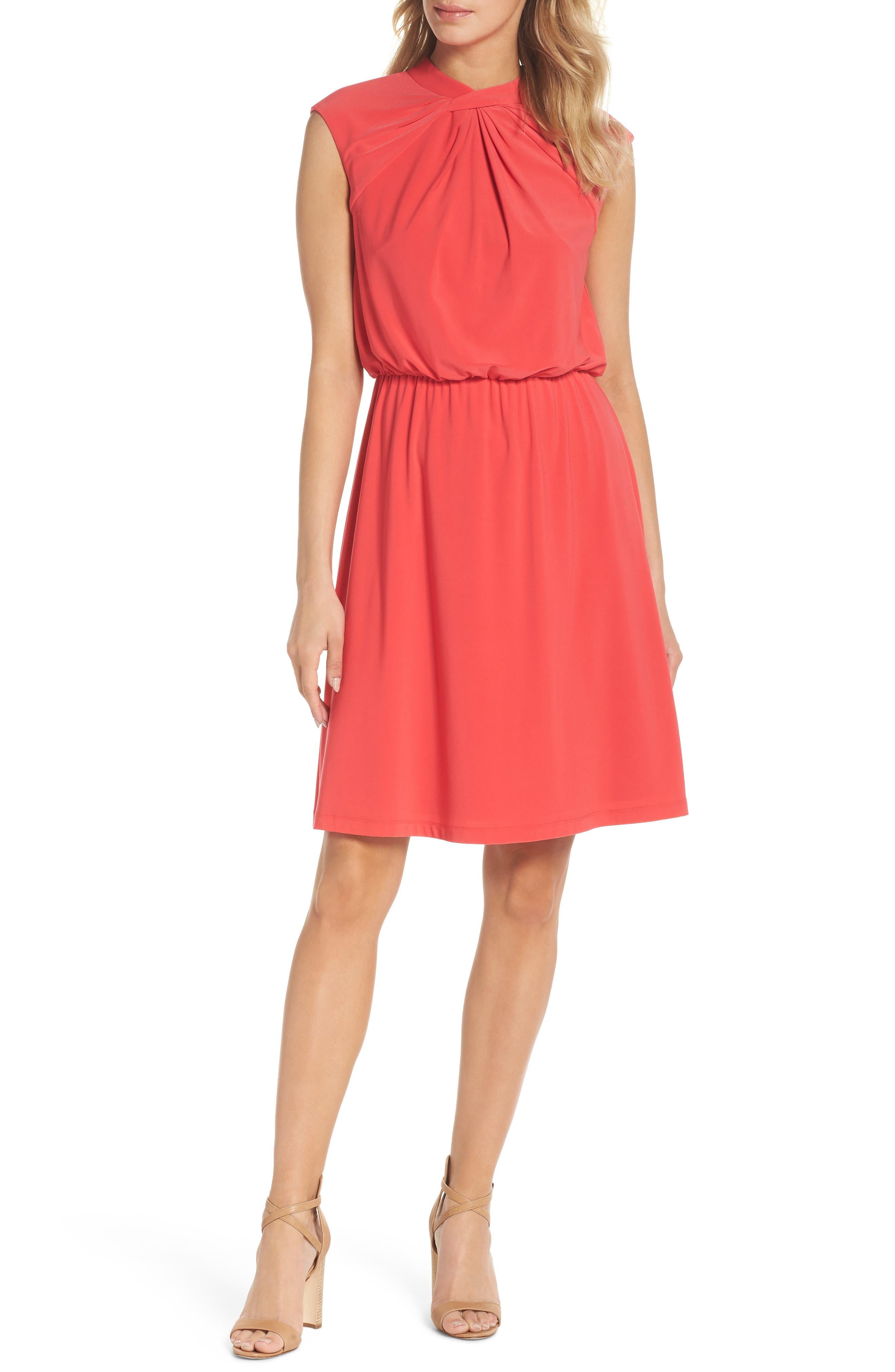 Twist Neck Jersey Blouson Dress,                         Main,                         color, Geranium