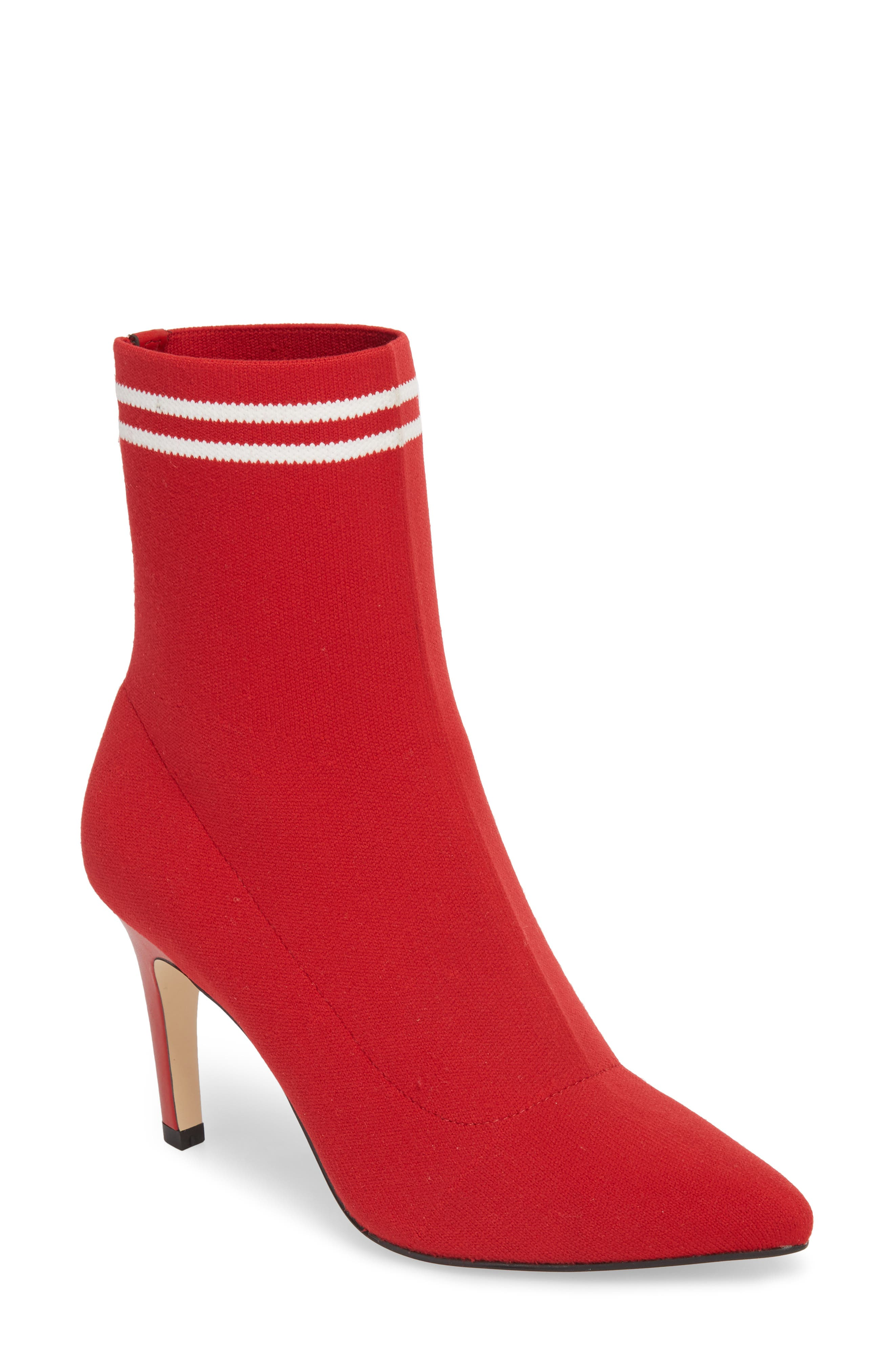 Finn Sock Bootie,                             Main thumbnail 1, color,                             Red Stretch