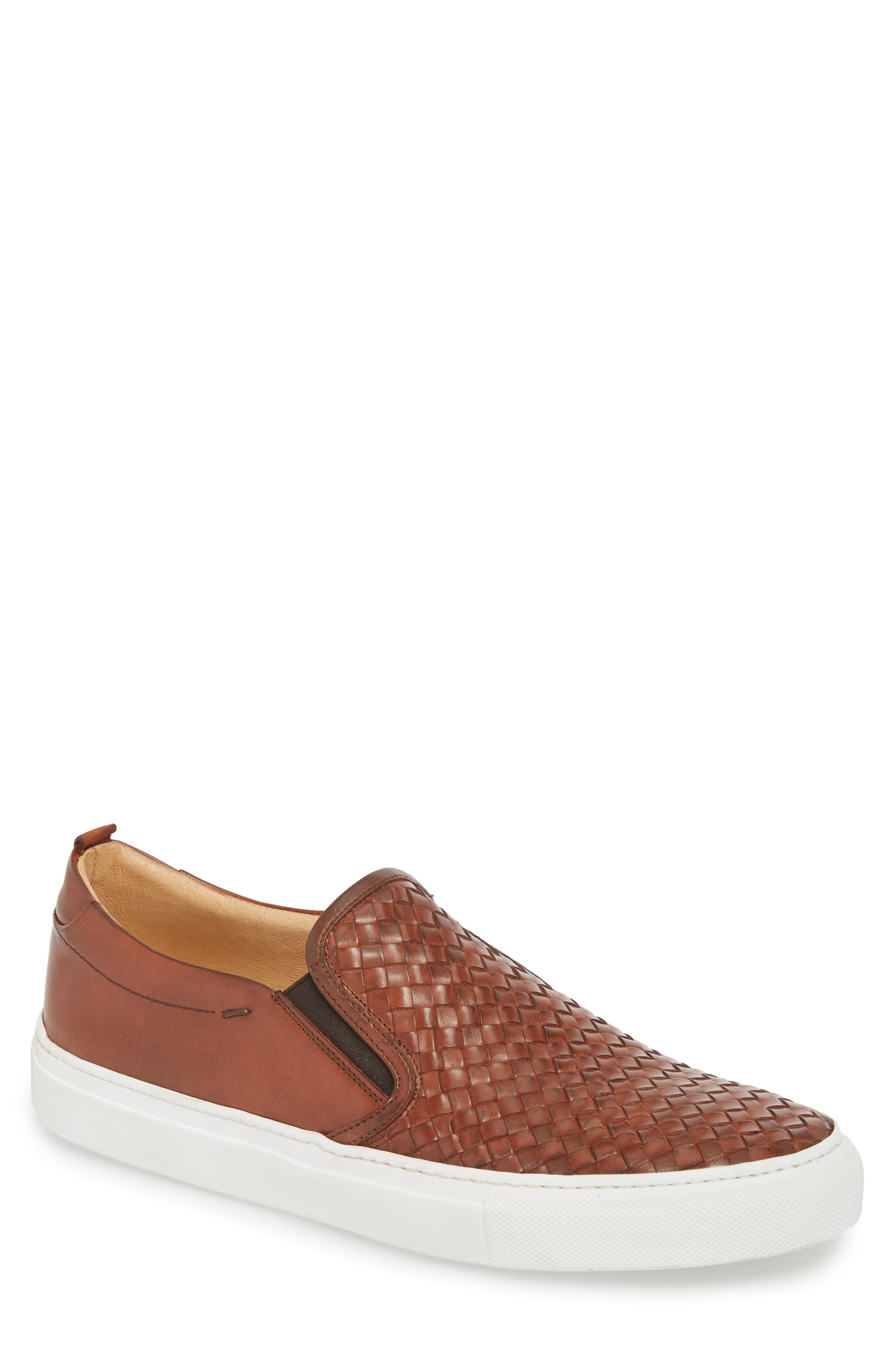 Grifyn Woven Slip-On Sneaker,                             Main thumbnail 1, color,                             Cognac Leather