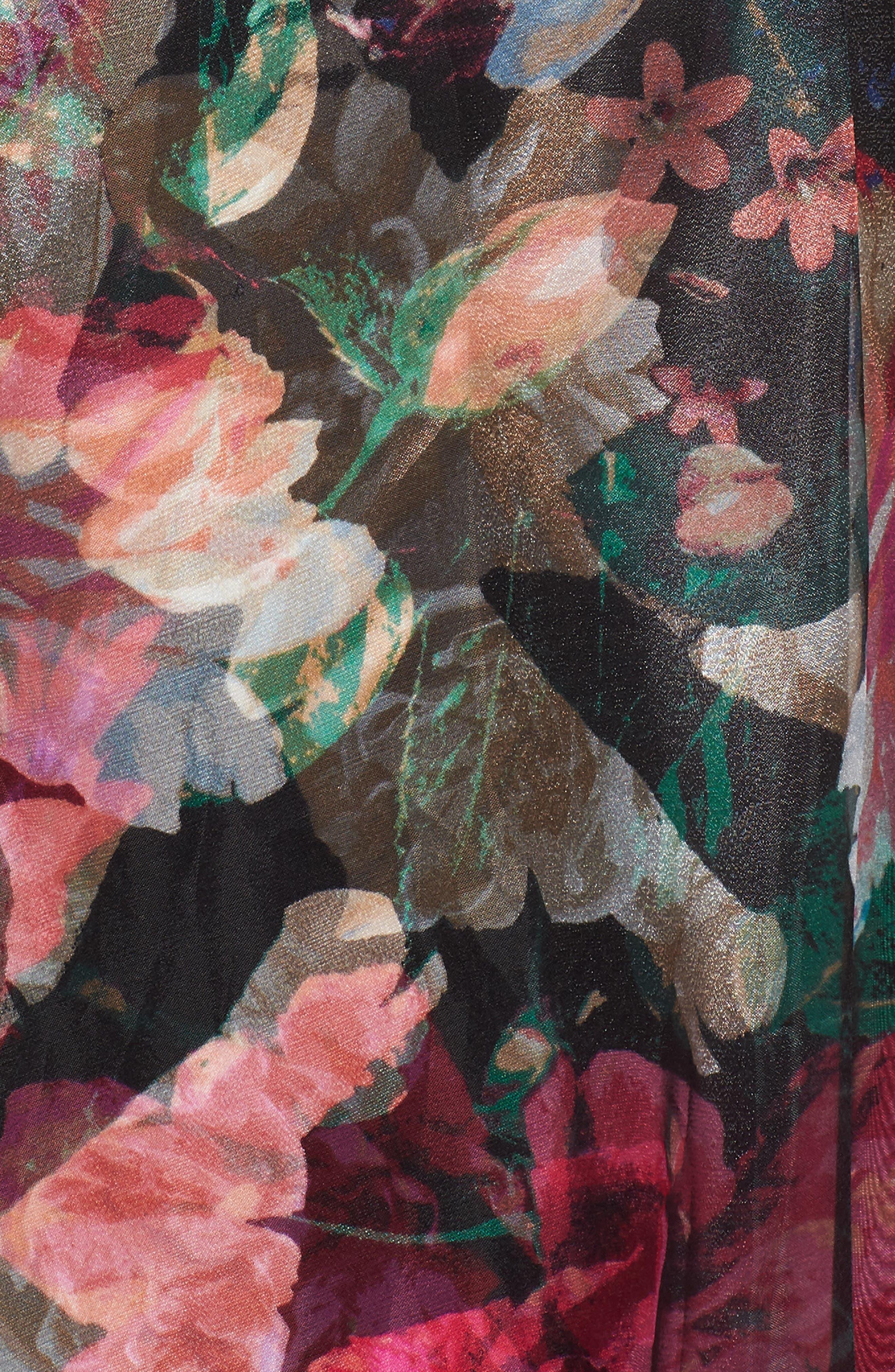 Twist Neck Organza Ballgown,                             Alternate thumbnail 5, color,                             Black/ Pink/ Green