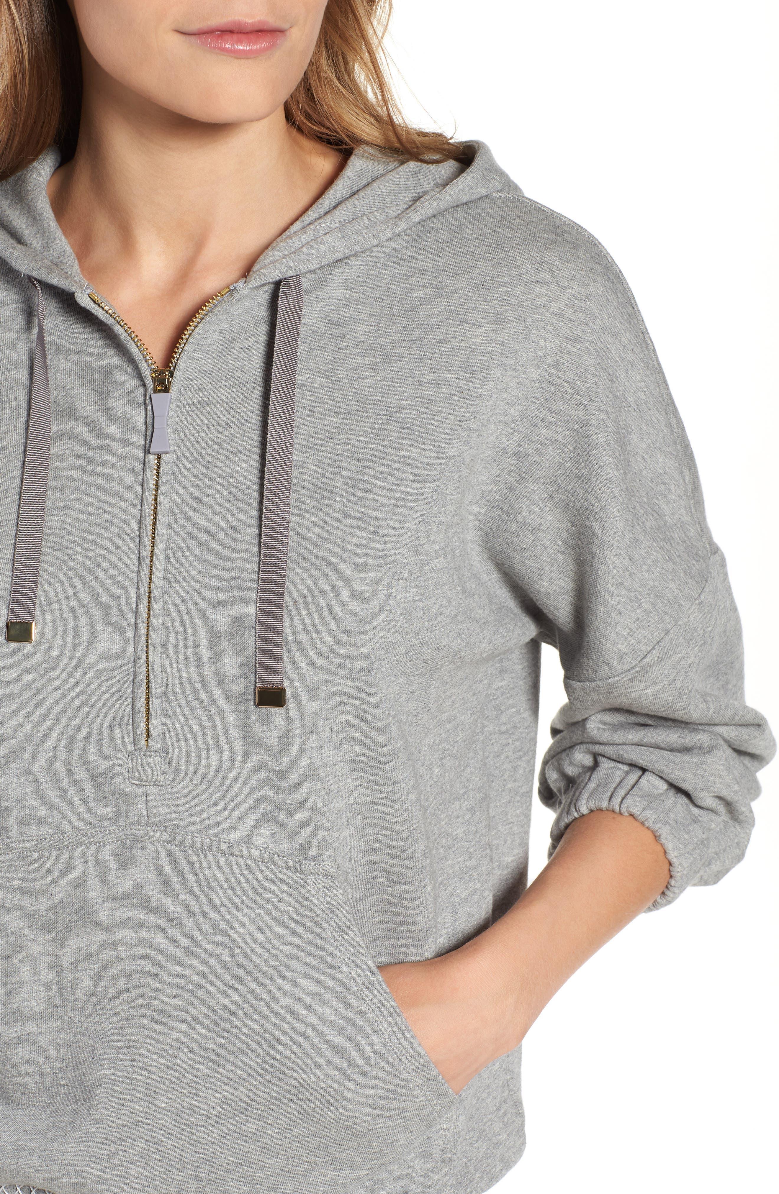 smocked hoodie sweatshirt,                             Alternate thumbnail 4, color,                             Flint Heather