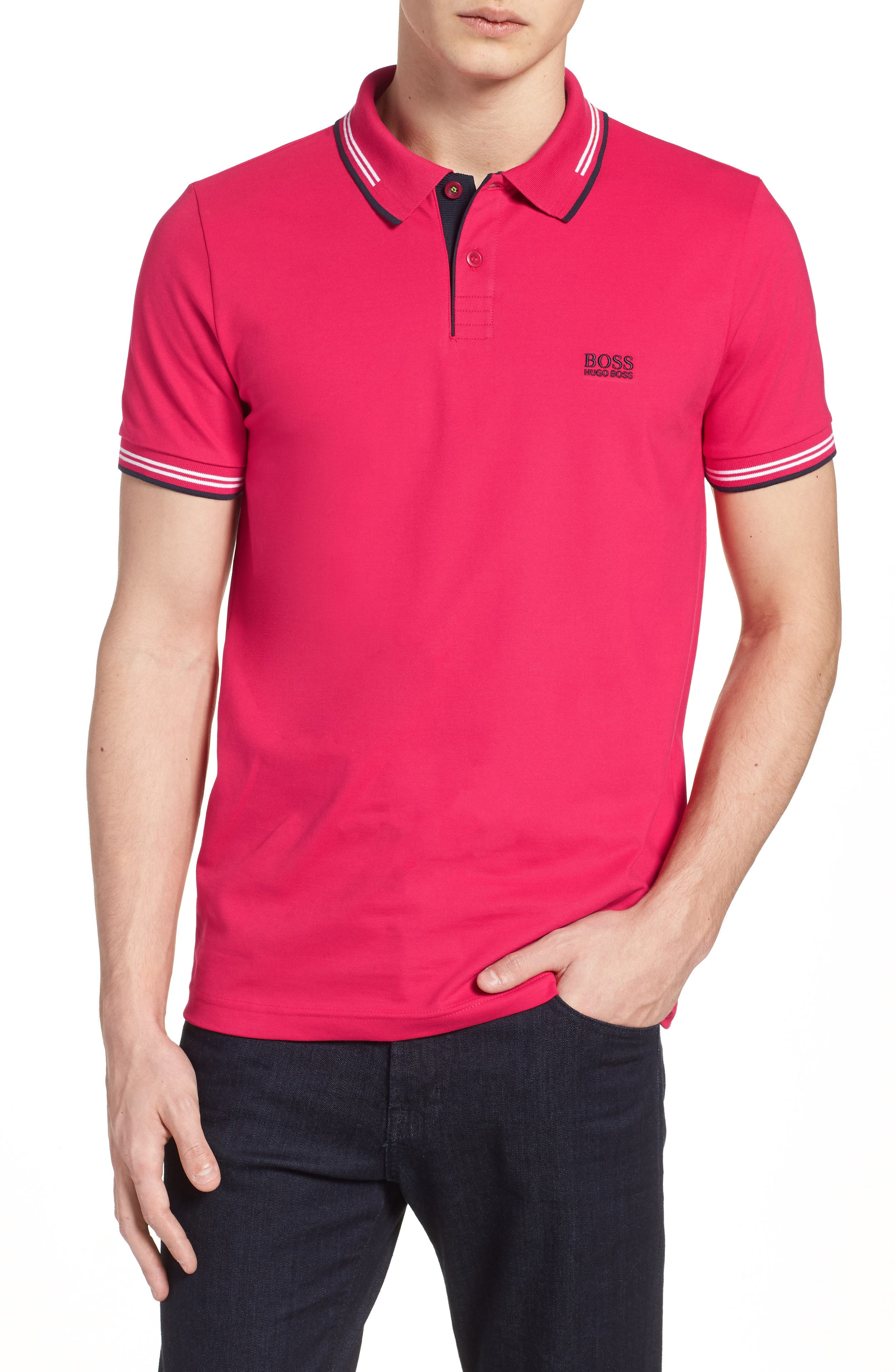 Paul Slim Fit Polo,                         Main,                         color, Red