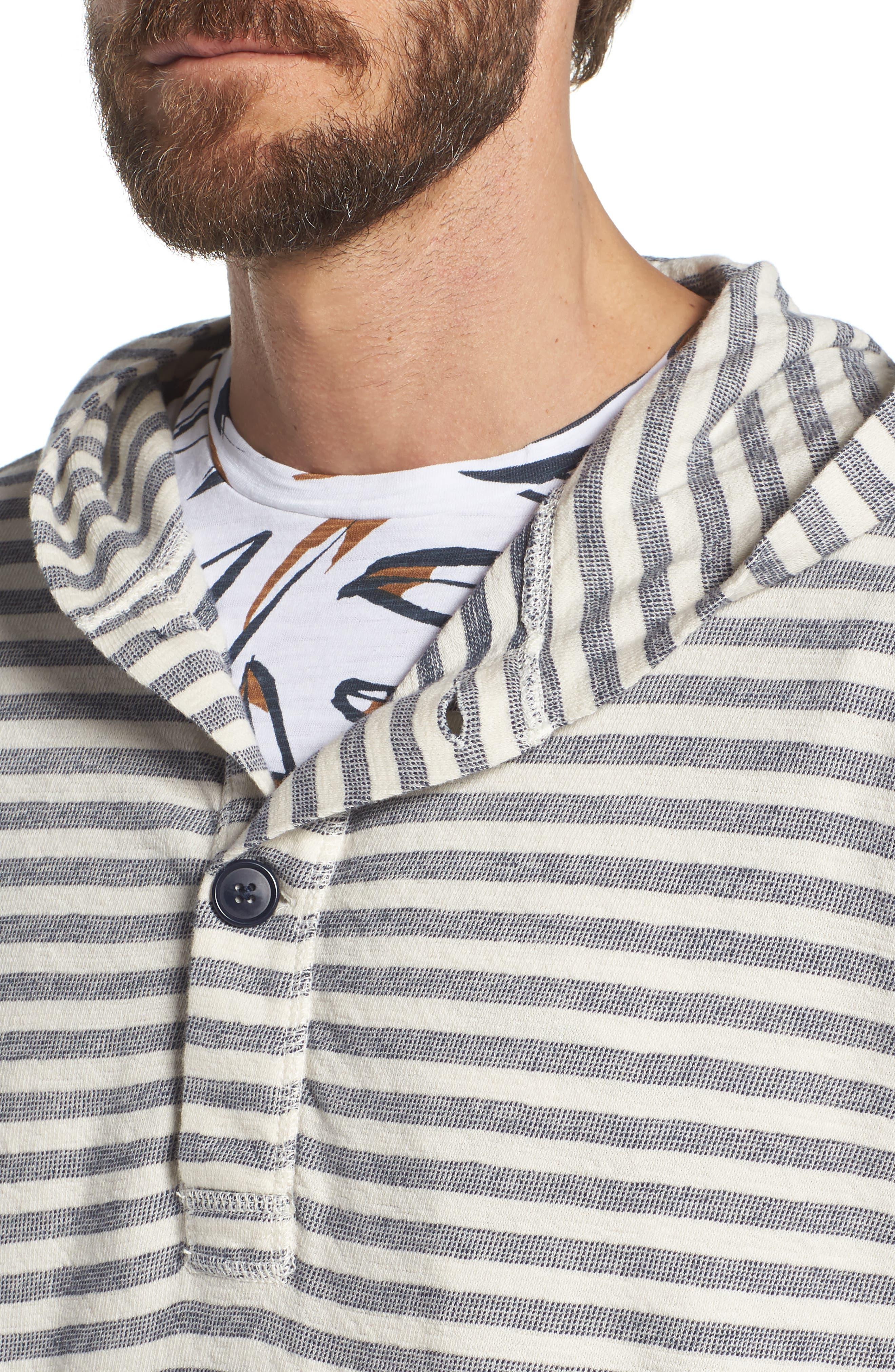 Stripe Poncho Hoodie,                             Alternate thumbnail 4, color,                             Seashell/ French Navy