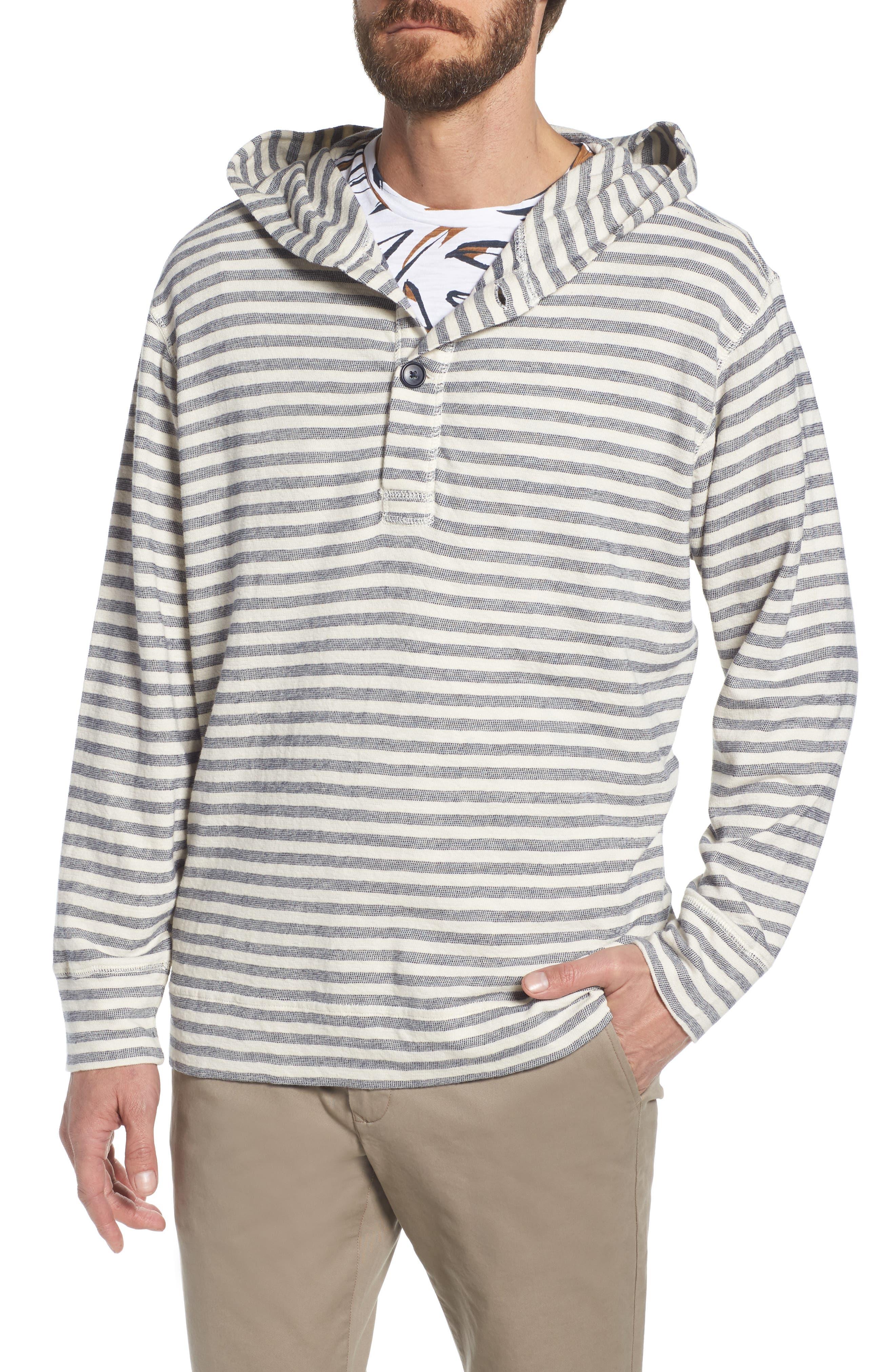 Stripe Poncho Hoodie,                         Main,                         color, Seashell/ French Navy