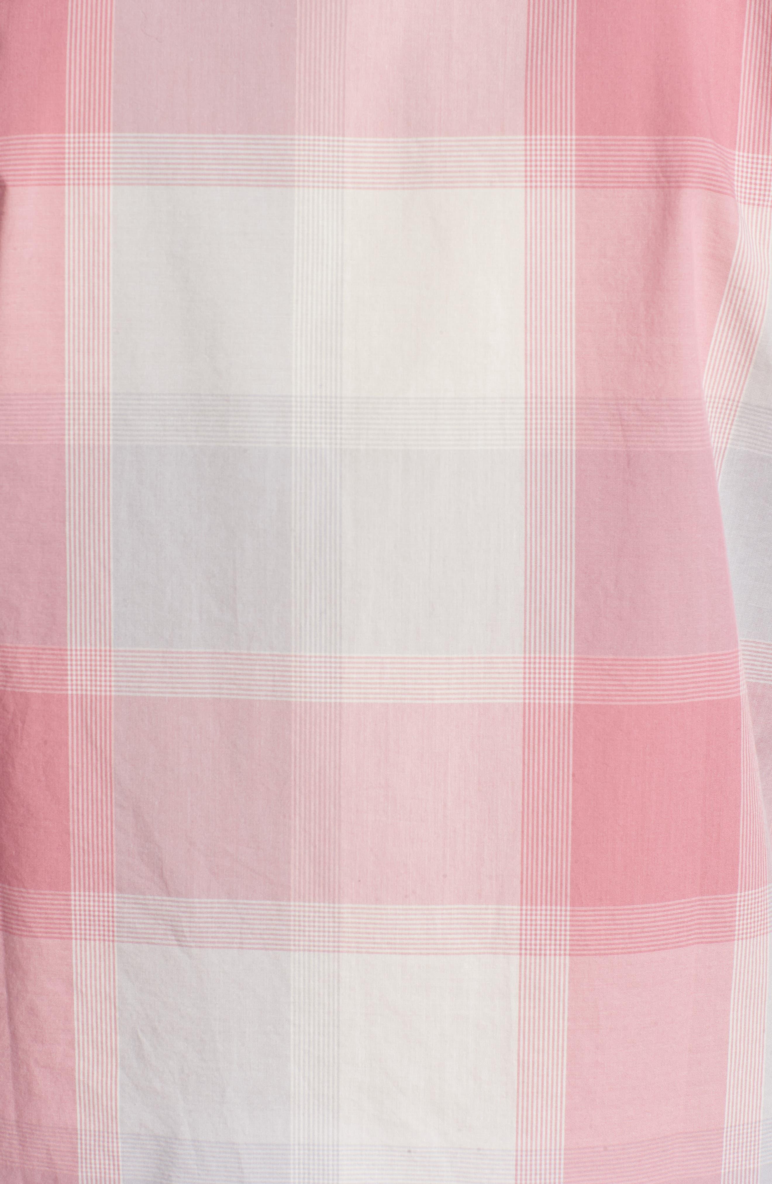 Summerweight Slim Fit Plaid Sport Shirt,                             Alternate thumbnail 5, color,                             Oro Plaid - Pink Sand