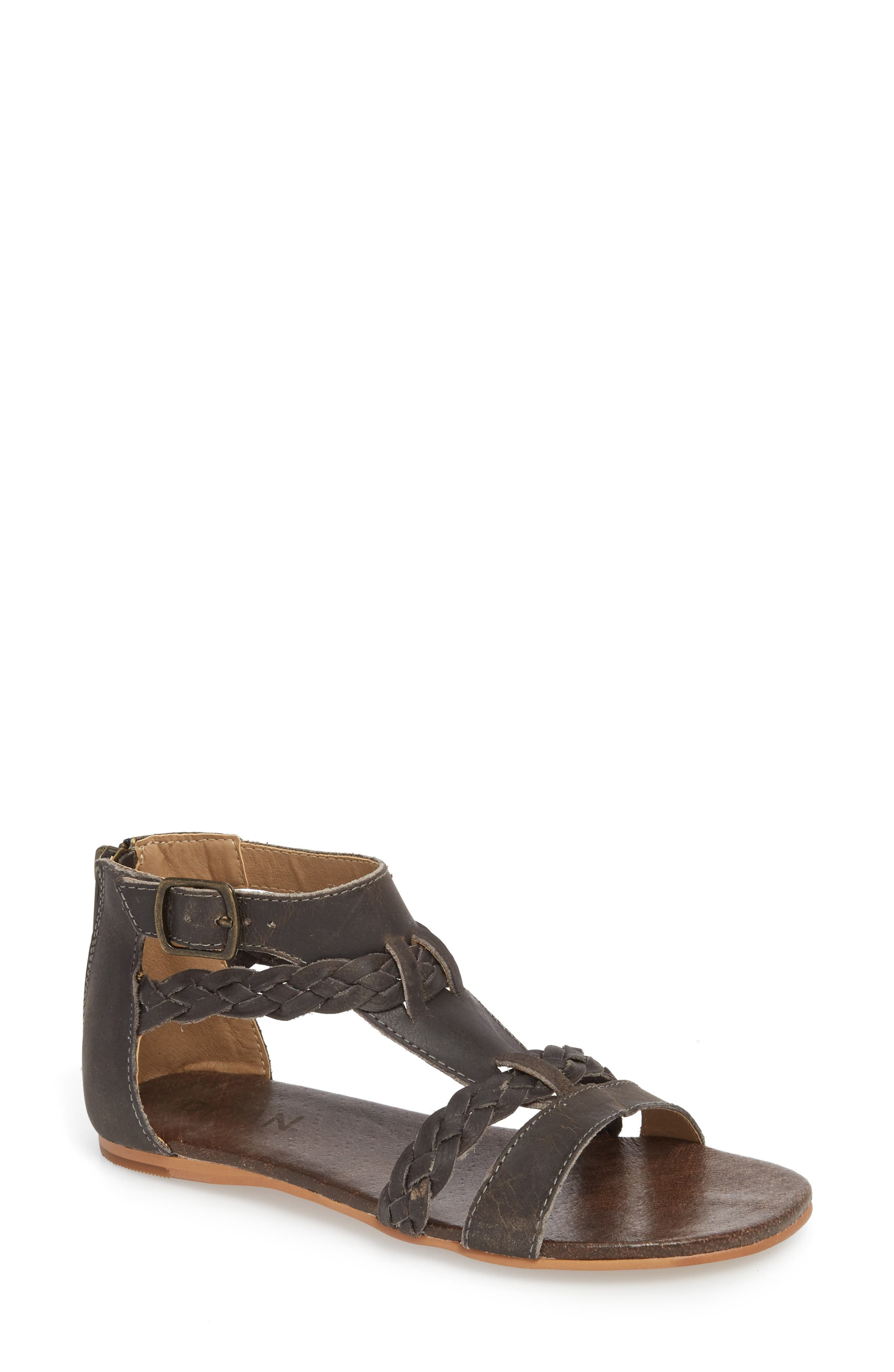 Posey Braided V-Strap Sandal,                             Main thumbnail 1, color,                             Sydney Black