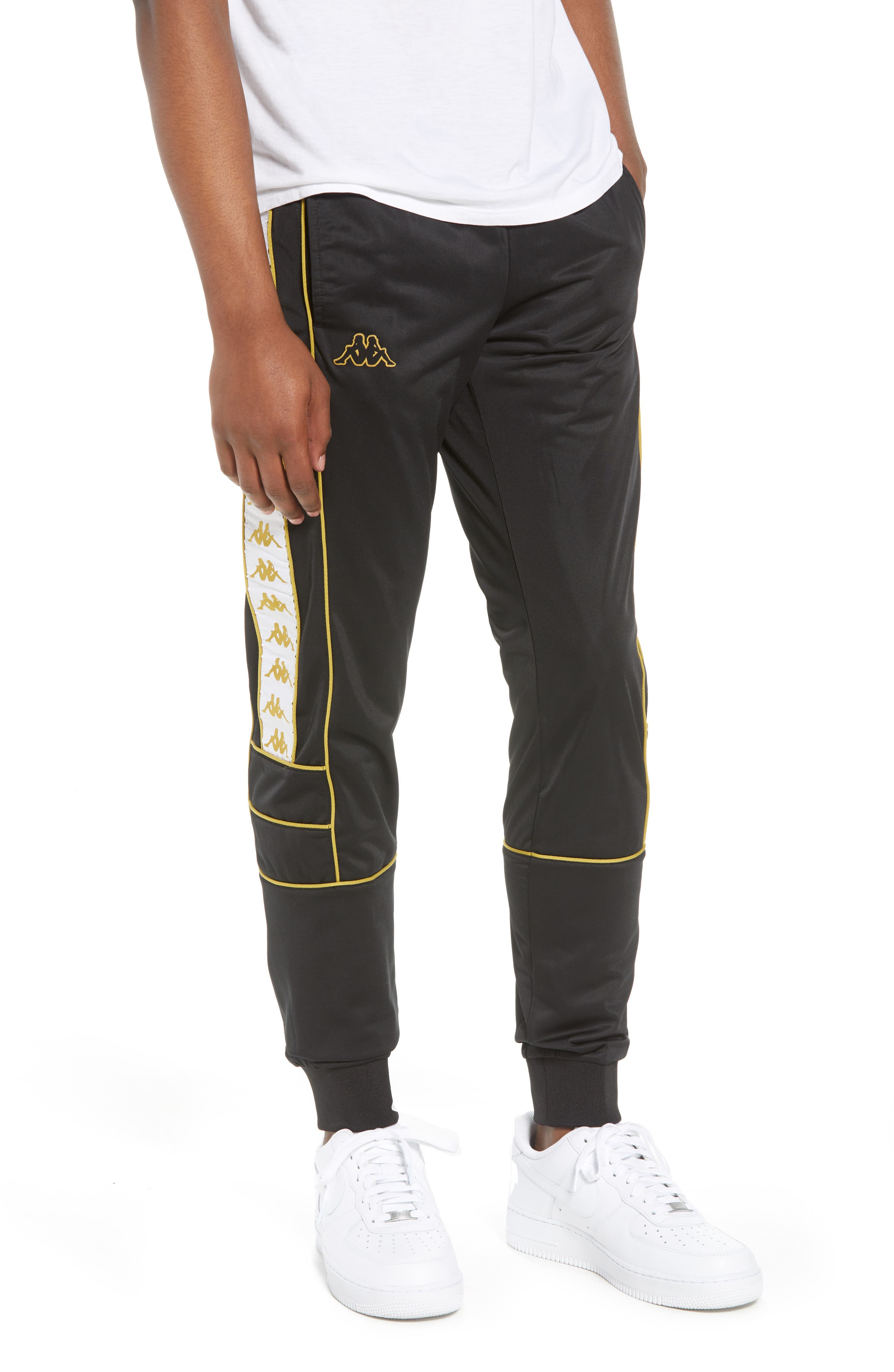Racing Track Pants,                         Main,                         color, Black/ White Gold