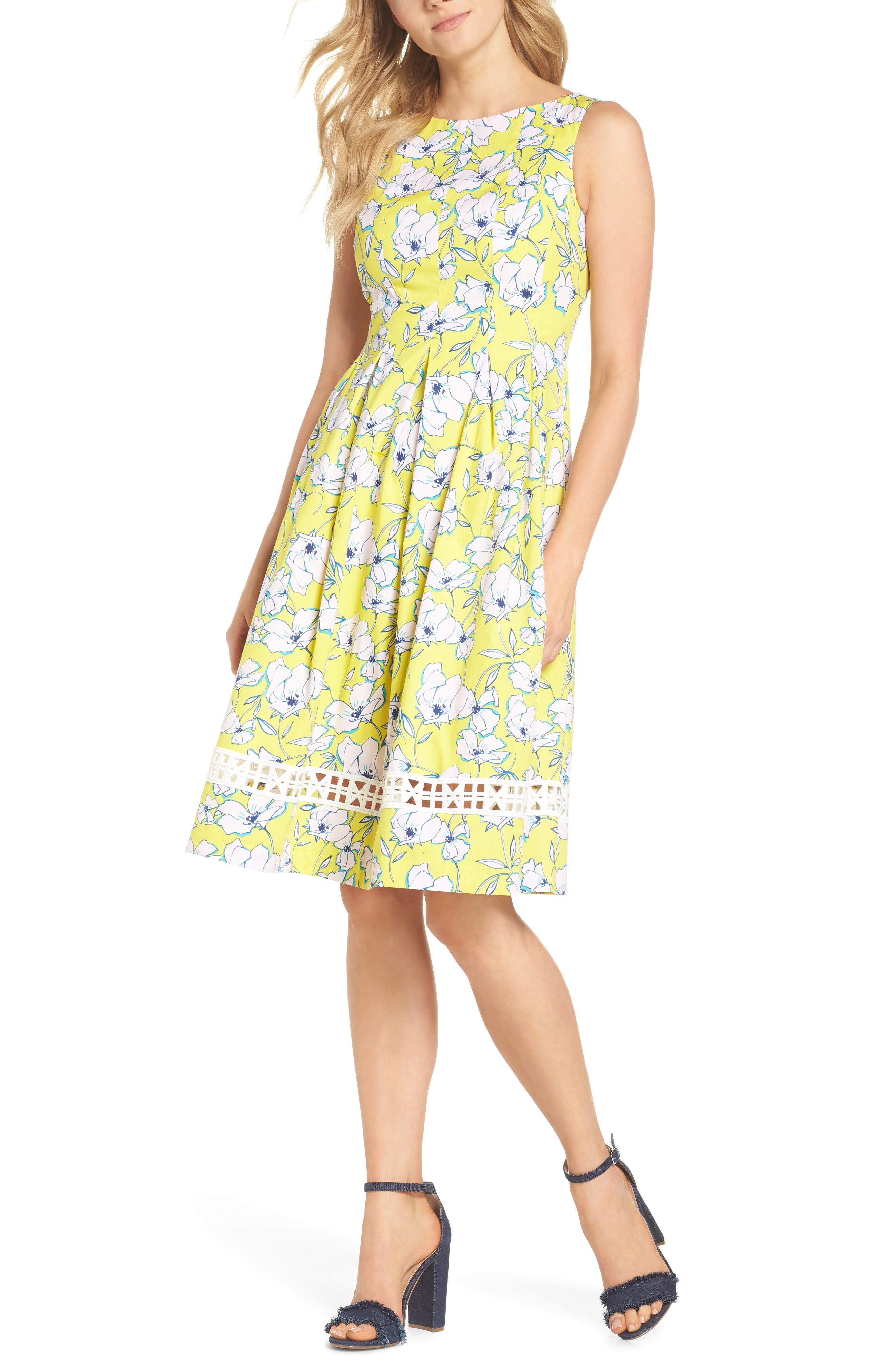 Pleated Fit & Flare Dress,                         Main,                         color, Yellow