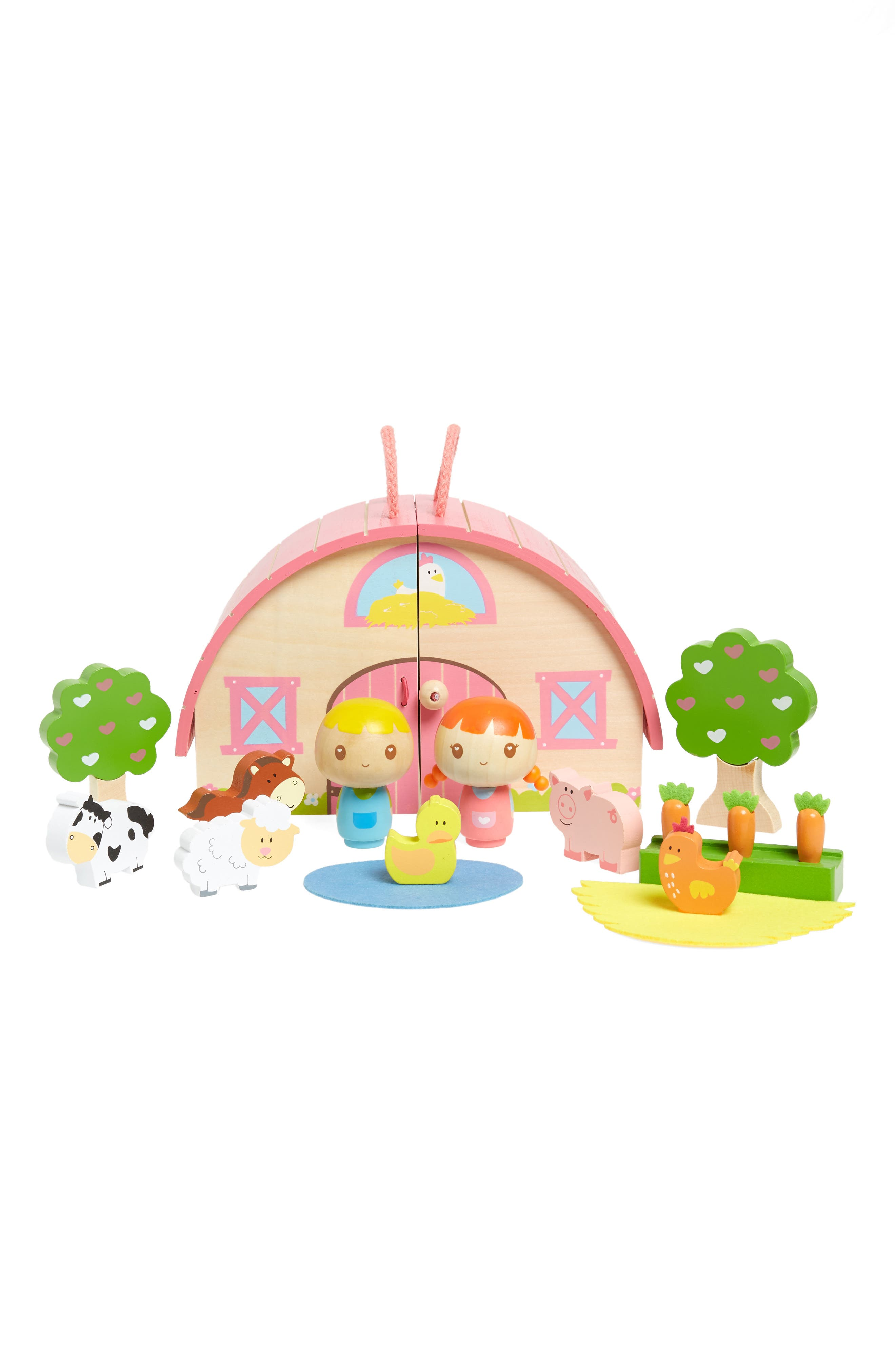 Sunrise Farm Wooden Play Set,                             Main thumbnail 1, color,                             White And Pink
