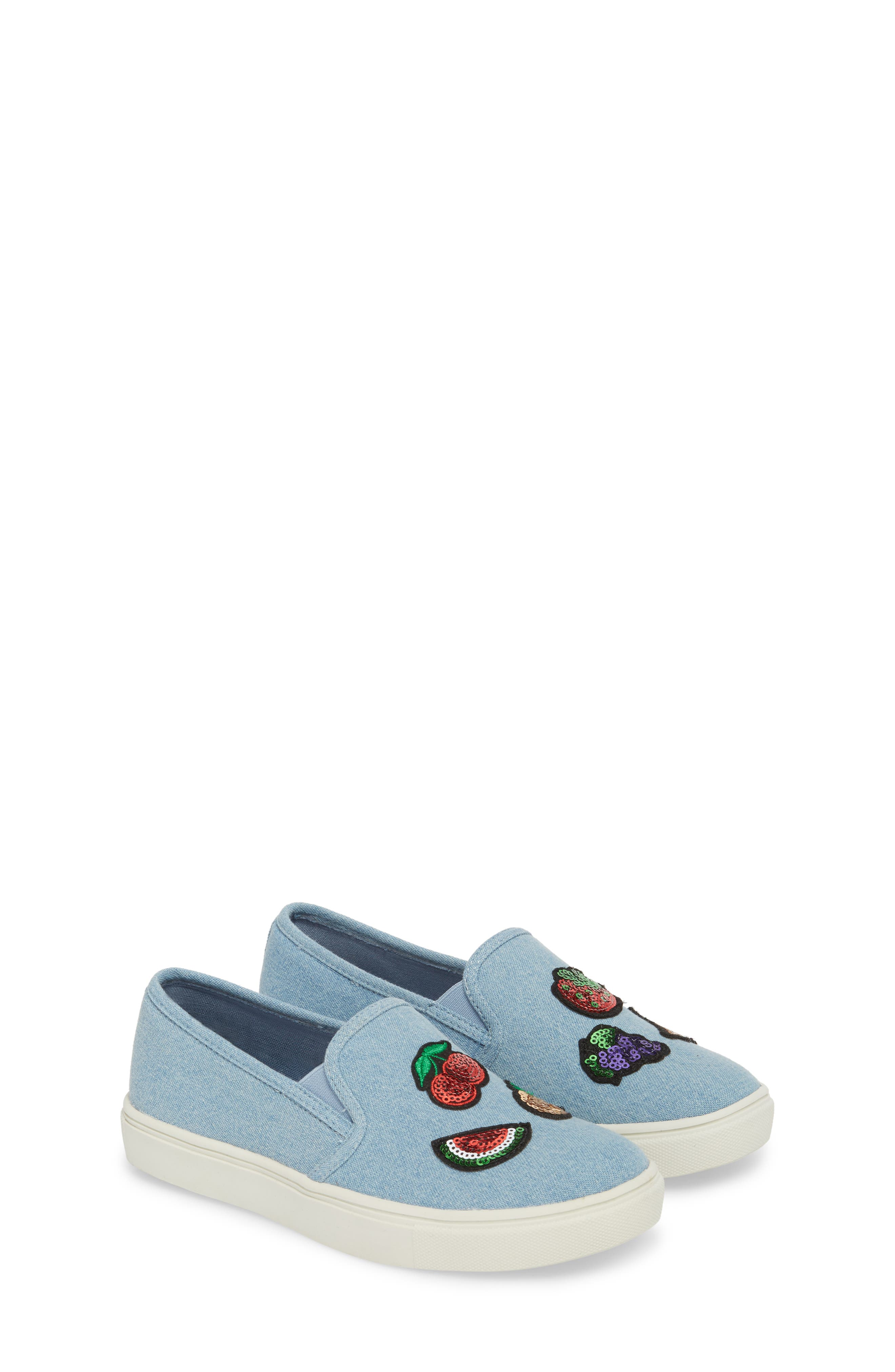 Twinny Snack Appliqué Sneaker,                             Alternate thumbnail 3, color,                             Chambray Fabric
