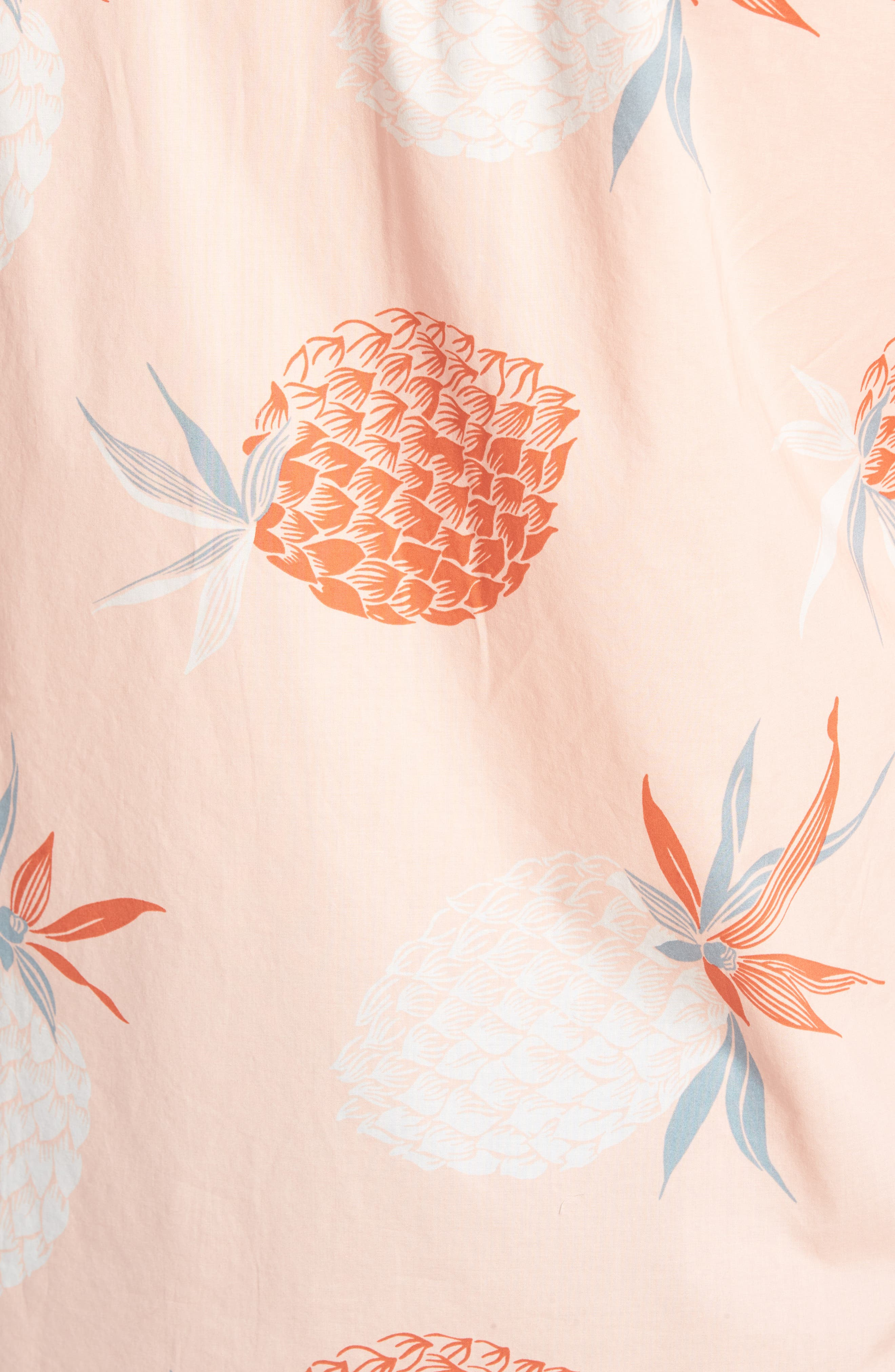Summerweight Slim Fit Print Sport Shirt,                             Alternate thumbnail 5, color,                             Pineapple Party - Peach Melba