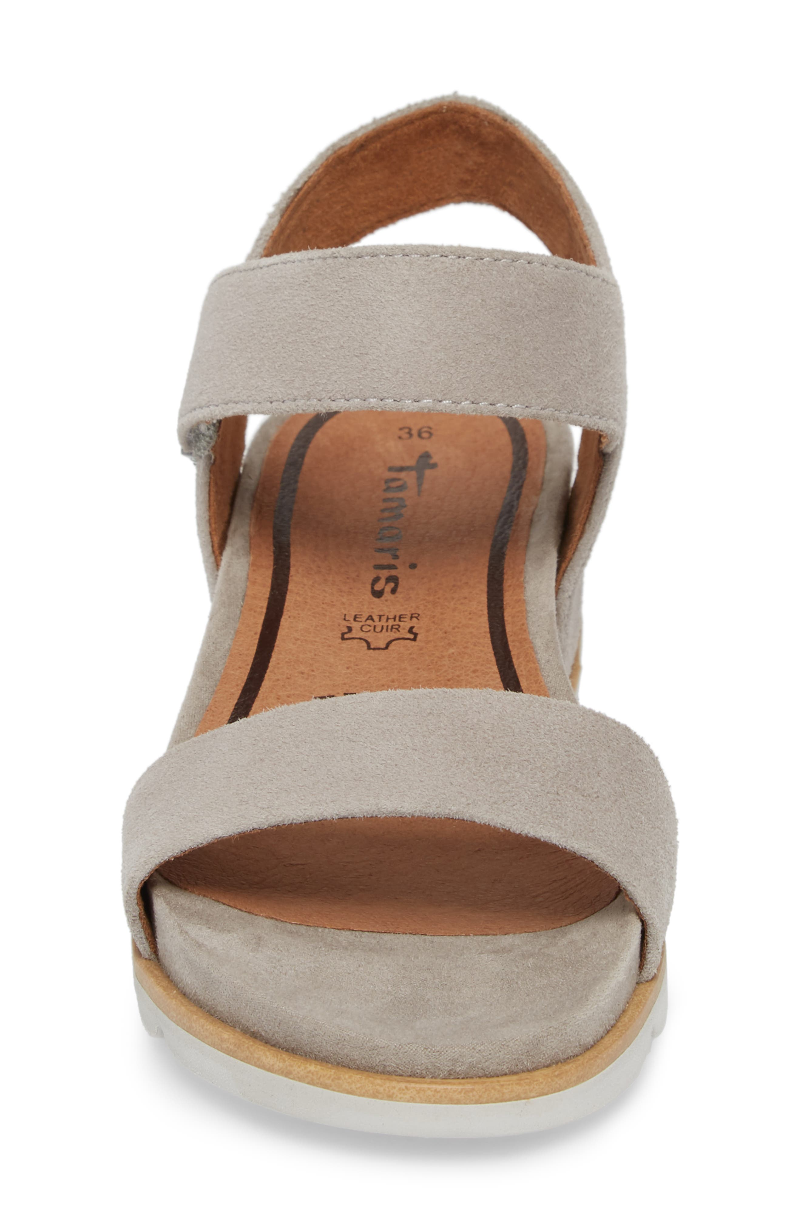Cory Wedge Sandal,                             Alternate thumbnail 4, color,                             Cloud Suede