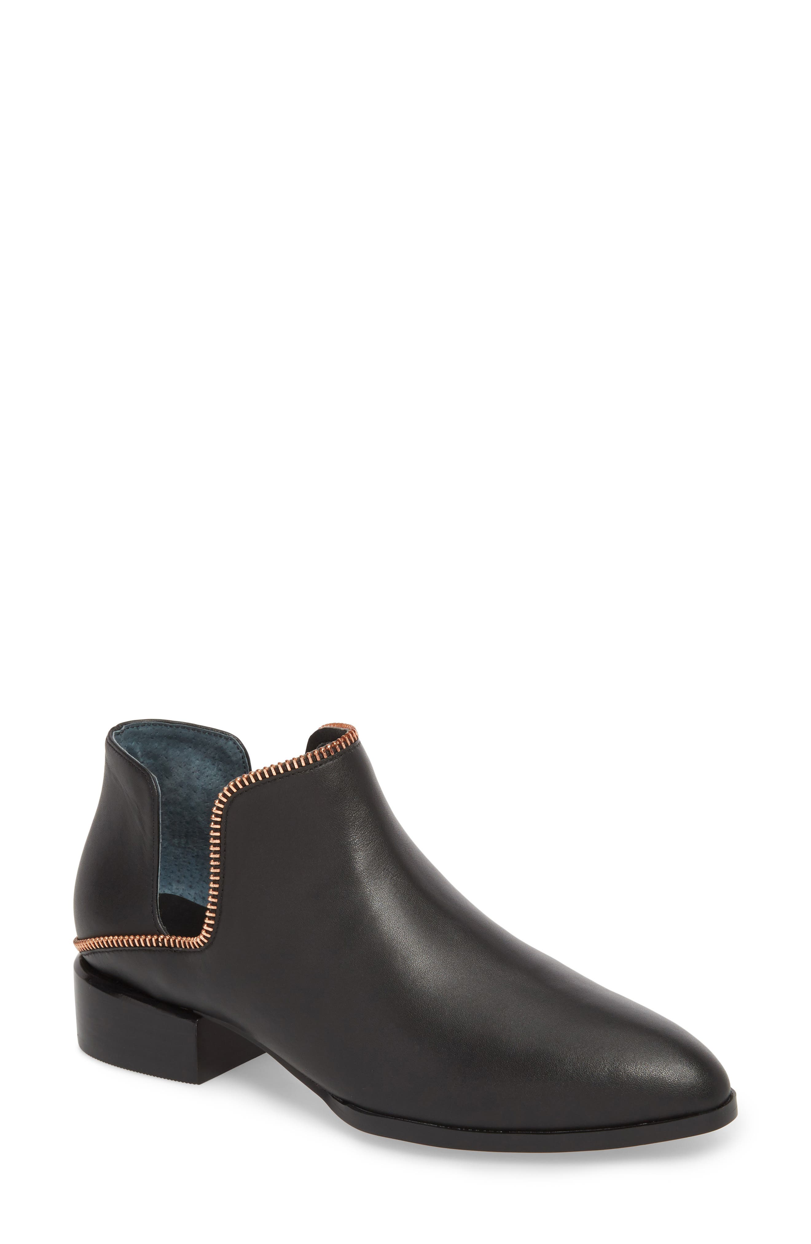 Piper Bootie,                         Main,                         color, Black Leather/ Rosegold