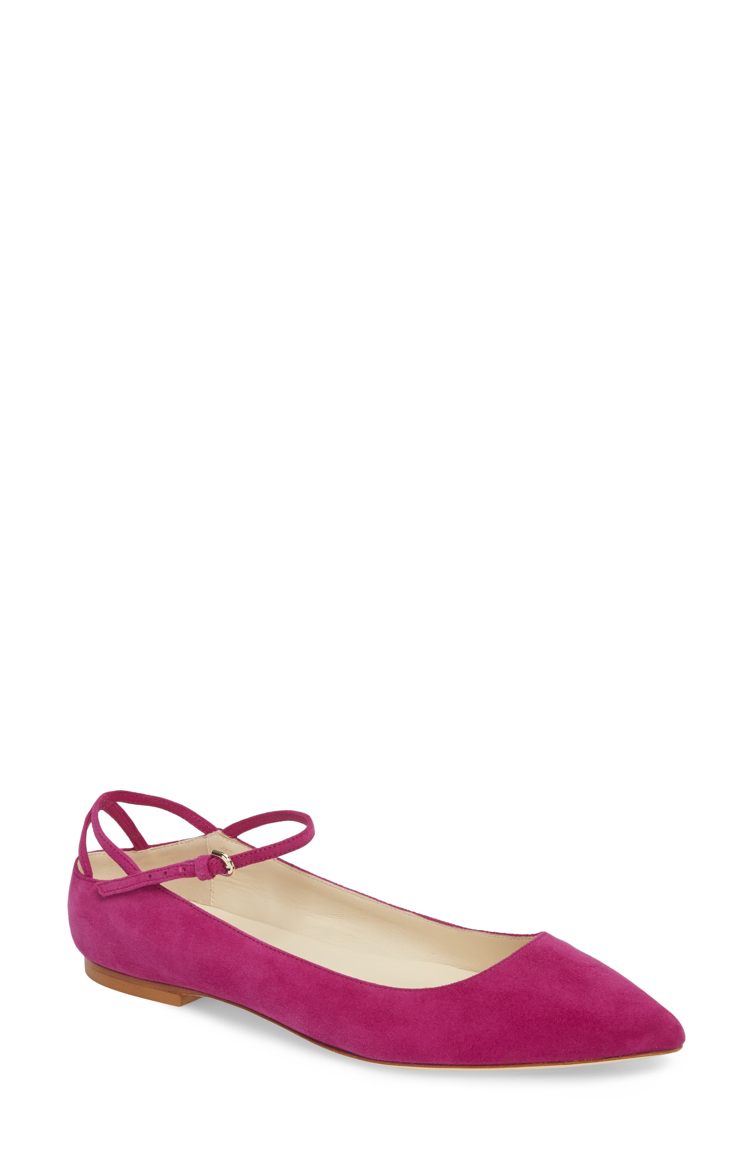 Astrid Ankle Strap Flat,                             Main thumbnail 1, color,                             Bouganvilla Kidsuede