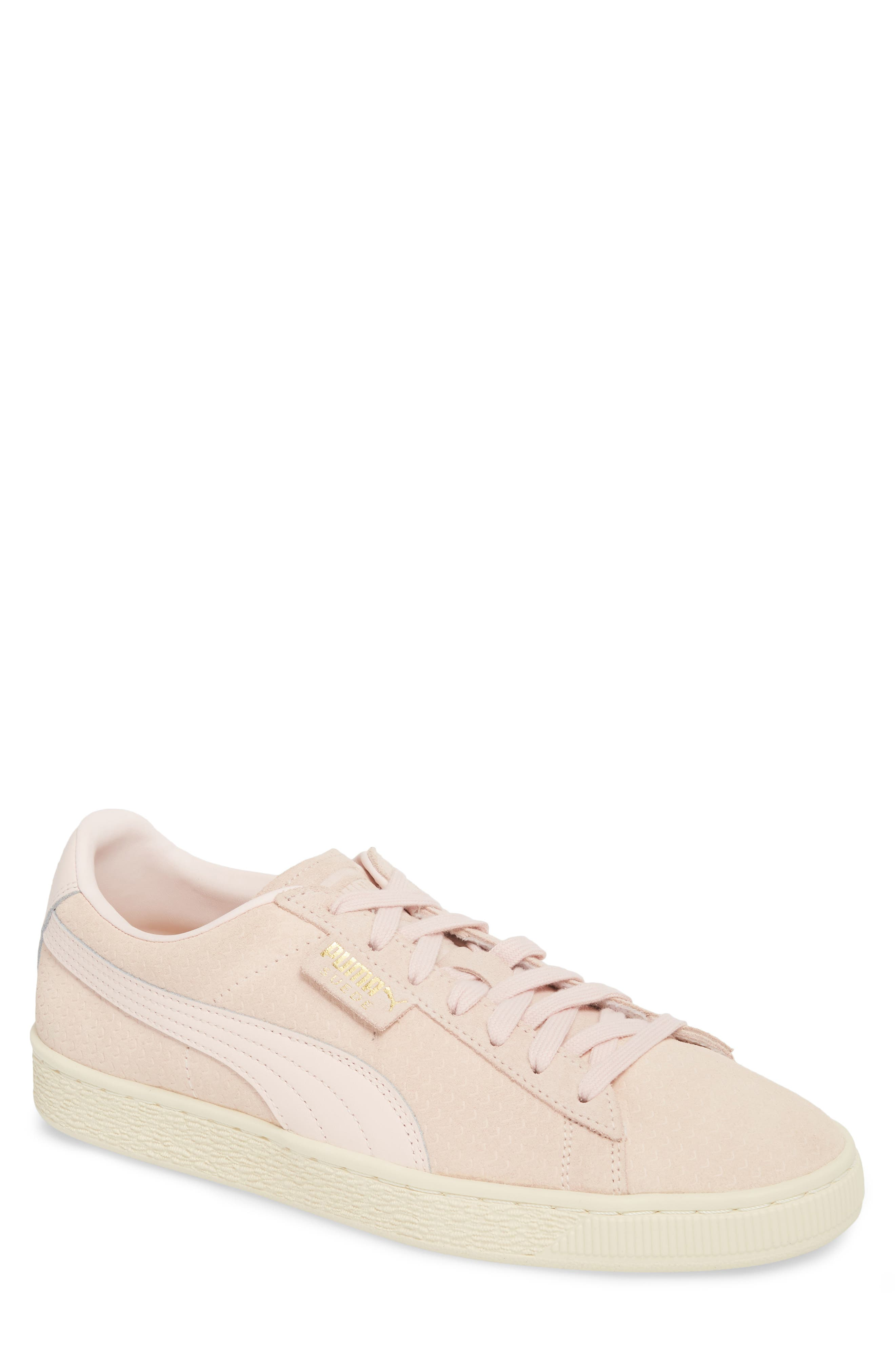 Suede Classic Perforation Sneaker,                             Main thumbnail 1, color,                             Pearl/ Whisper White Suede