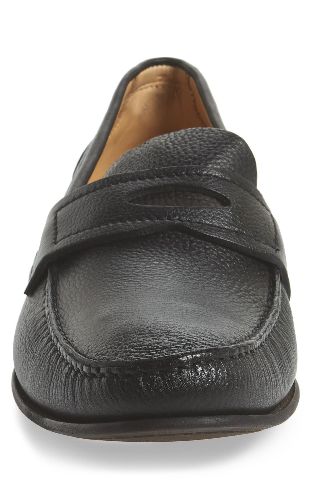 Eric Moc Toe Slip-On Loafer,                             Alternate thumbnail 4, color,                             Floater Black Leather