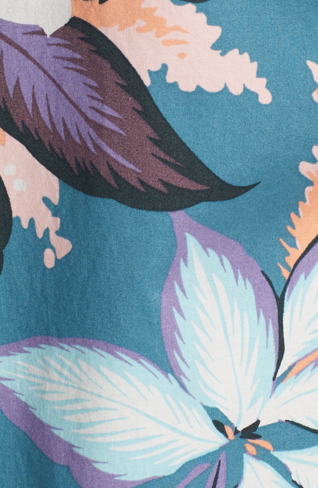 Riviera Slim Fit Floral Print Sport Shirt,                             Alternate thumbnail 5, color,                             Coral Couch Floral - Blue