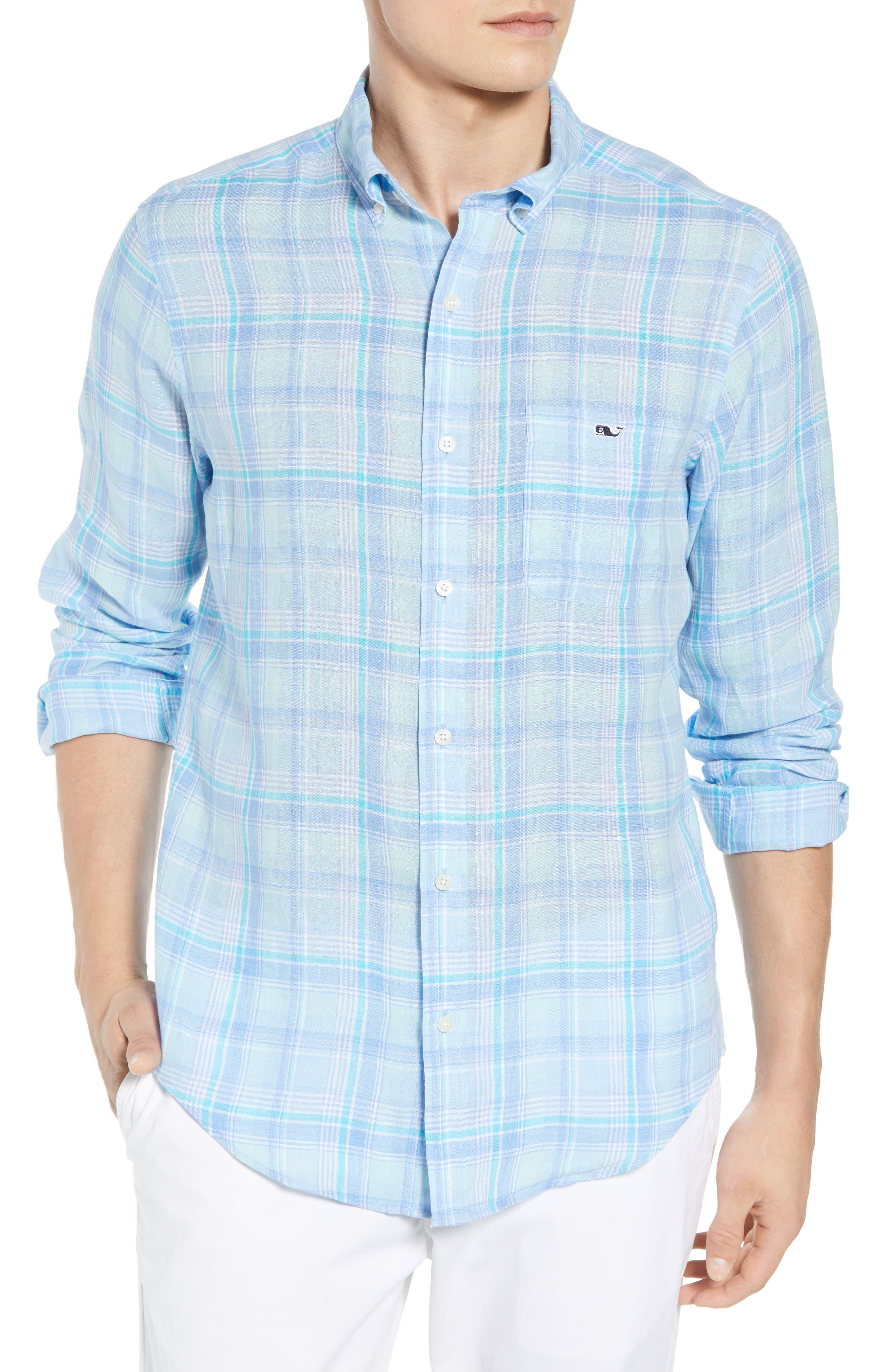 Moore's Island Classic Fit Plaid Sport Shirt,                         Main,                         color, Baja Blue