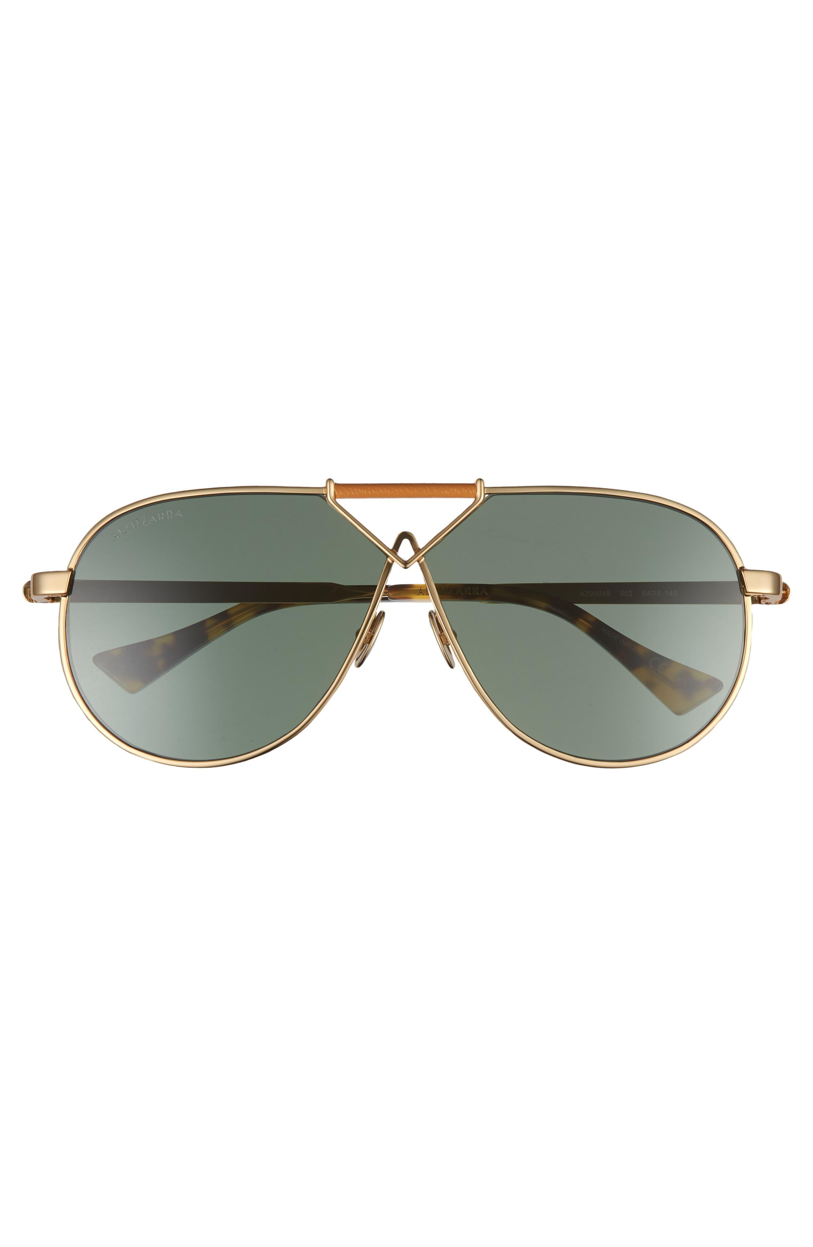 64mm Aviator Sunglasses,                             Alternate thumbnail 3, color,                             Gold