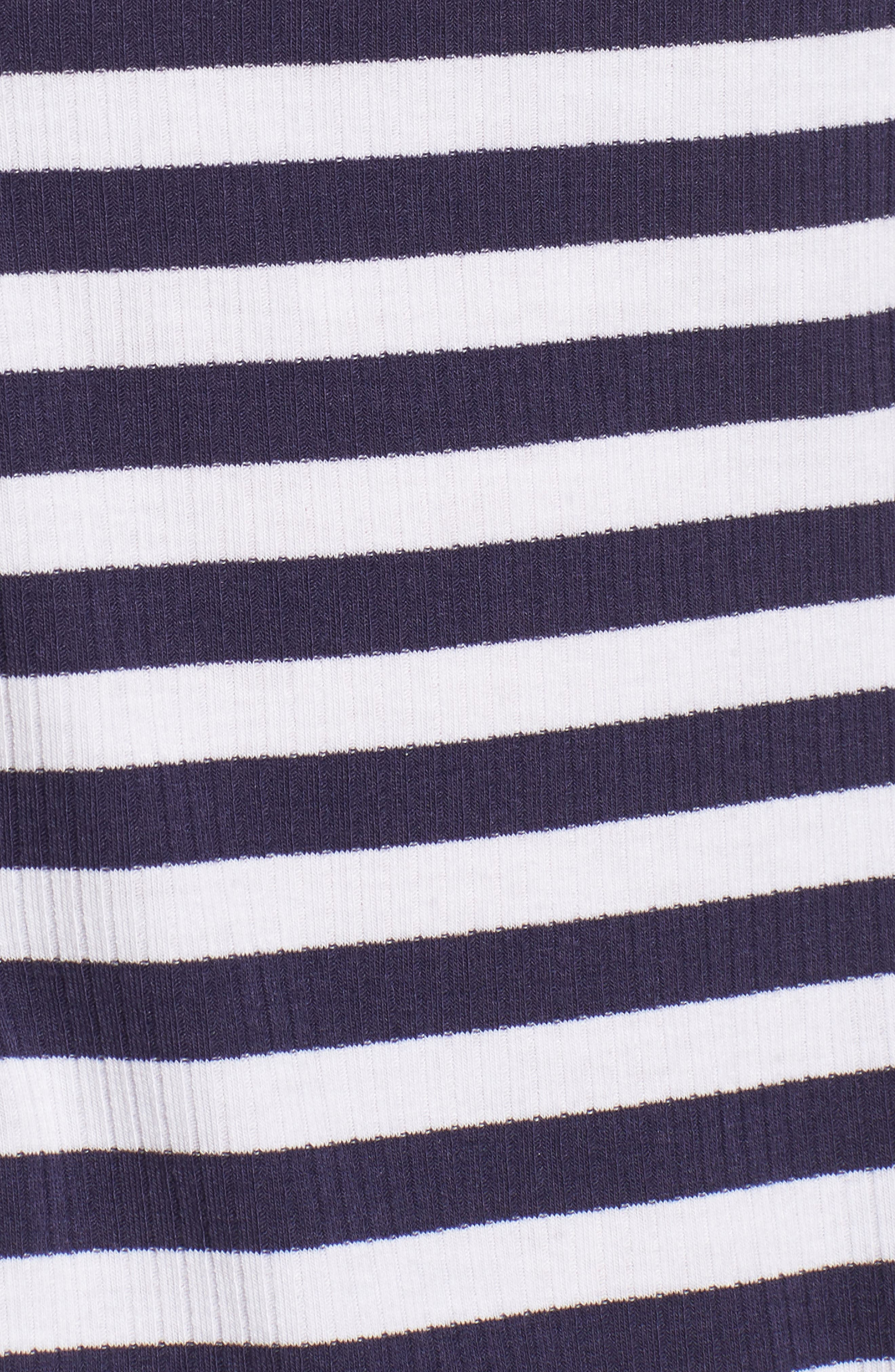 Stripe Peplum Tee,                             Alternate thumbnail 6, color,                             Navy/ White Stripe