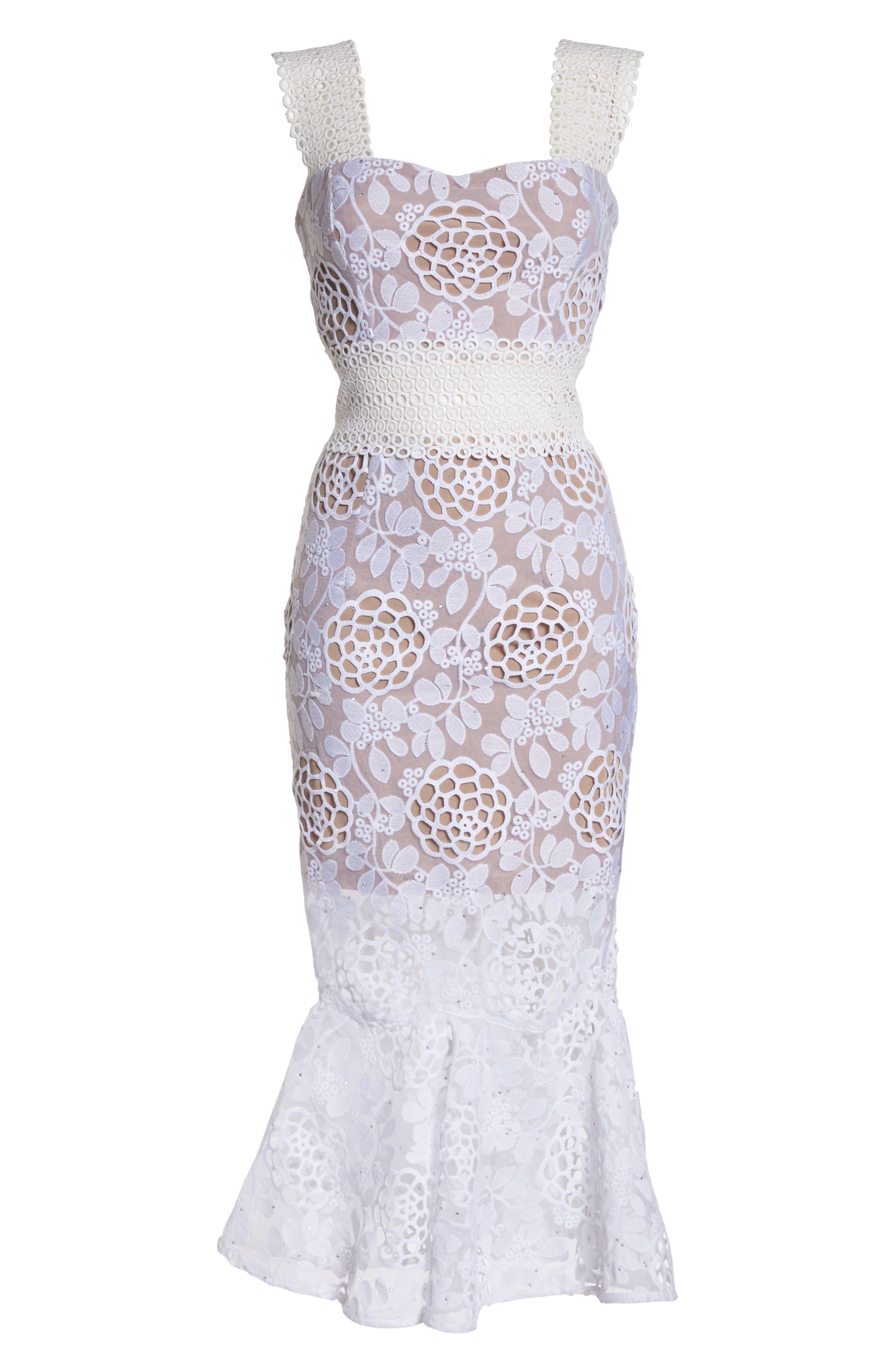 Capri Floral Lace Midi Dress,                             Alternate thumbnail 6, color,                             White