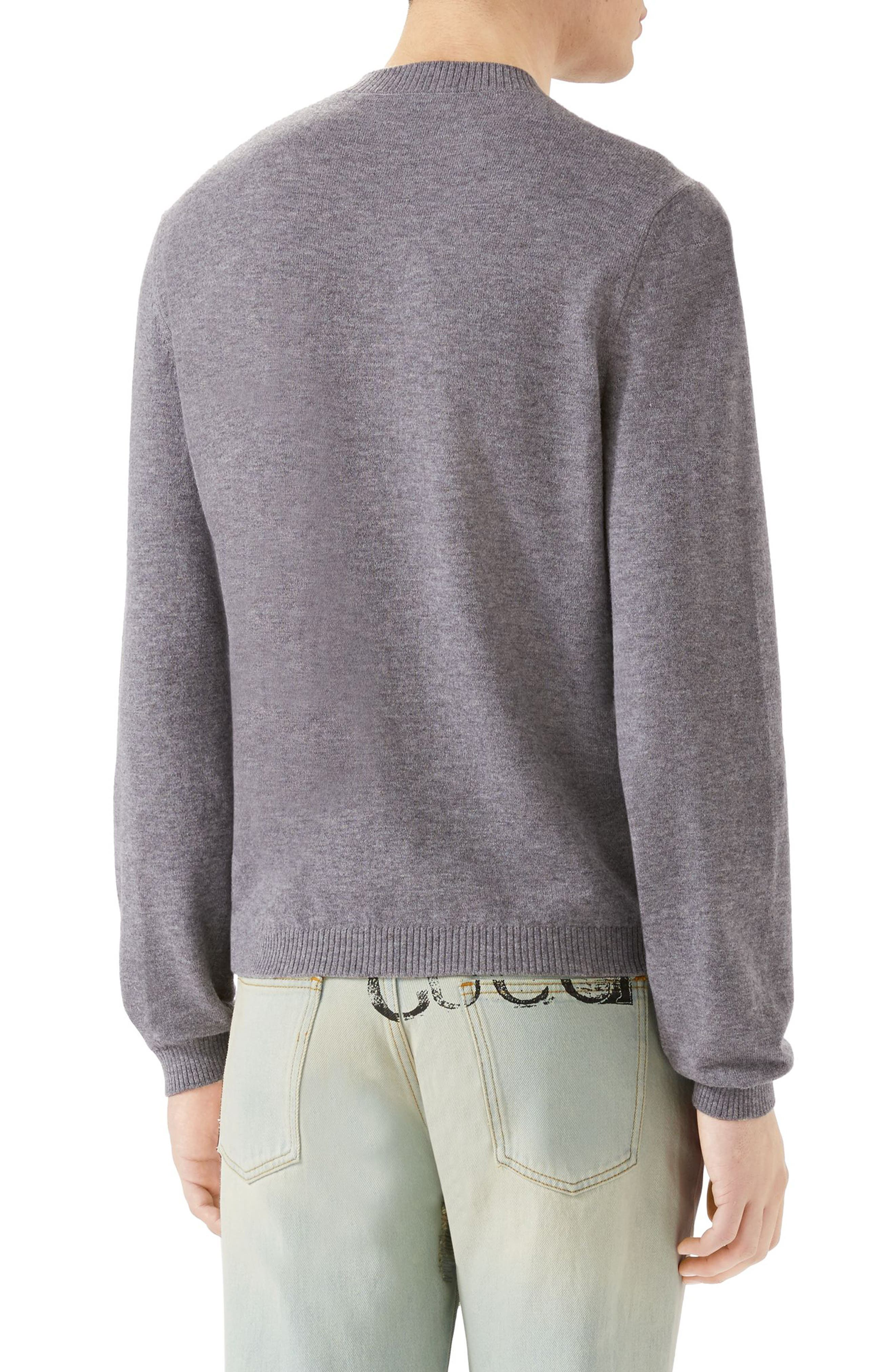 Embroidered Wool Crewneck Sweater,                             Alternate thumbnail 2, color,                             Medium Grey