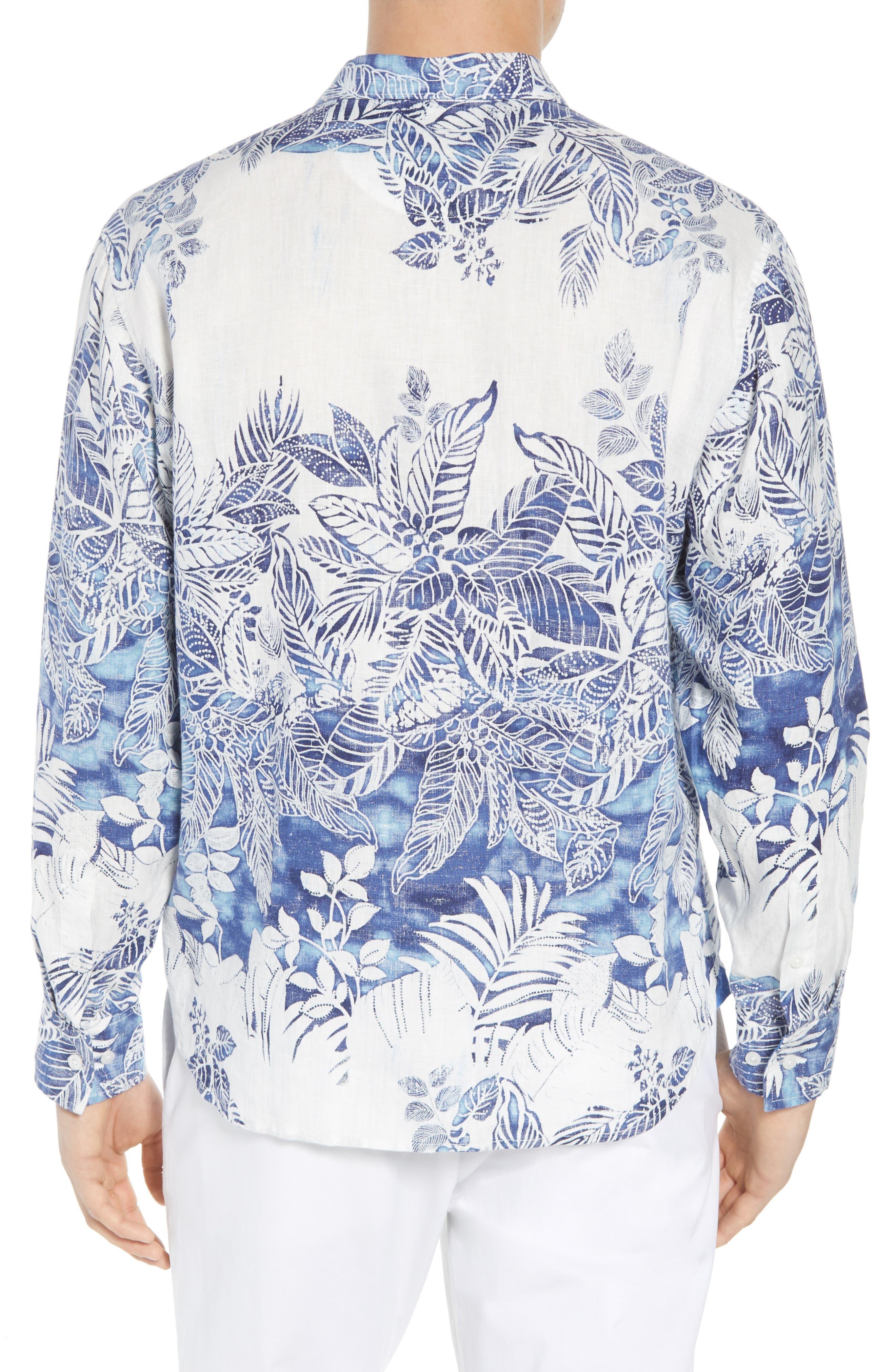 Mariachi Mirage Linen Sport Shirt,                             Alternate thumbnail 3, color,                             Eclipse