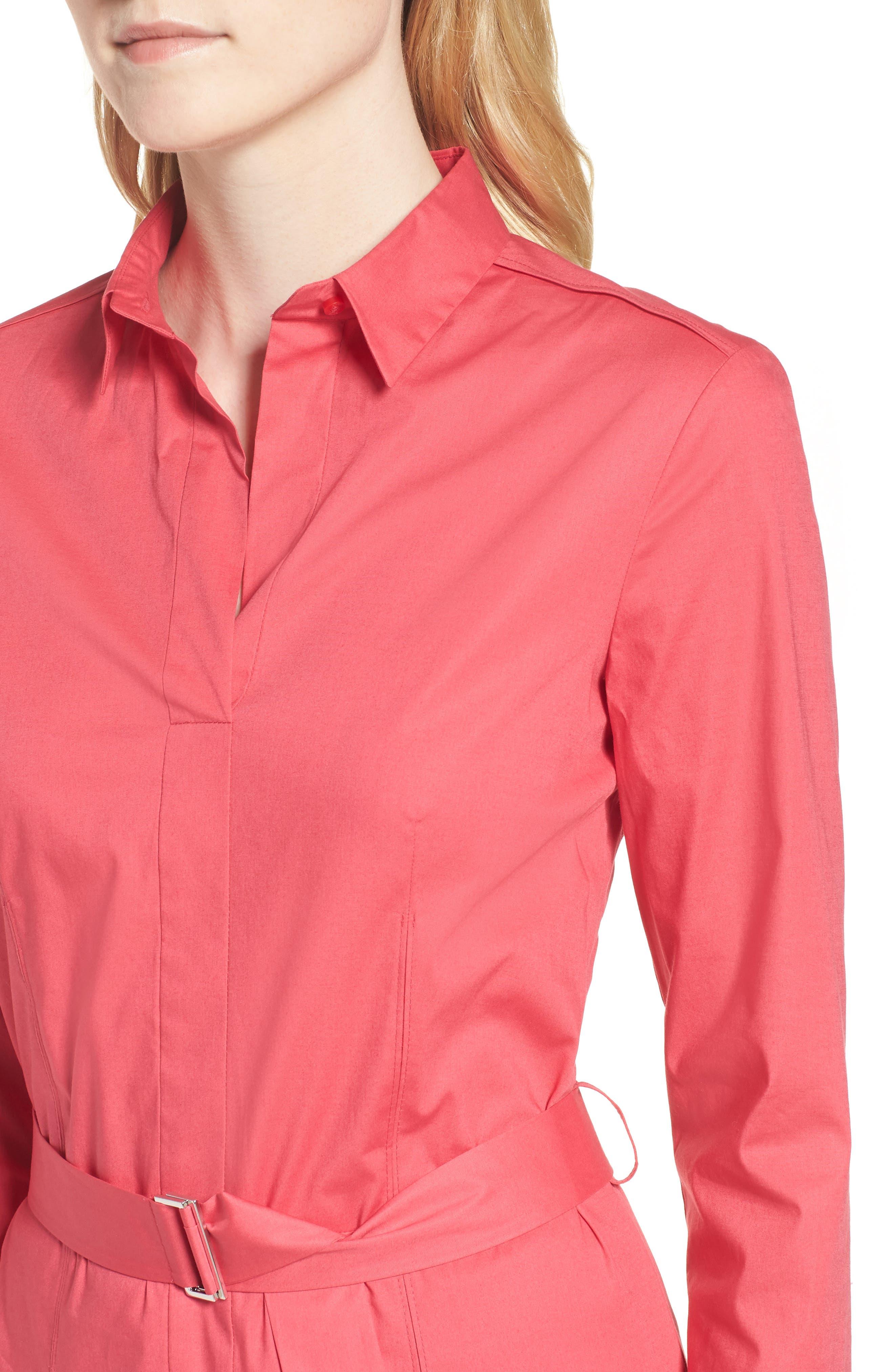 Dashiri Stretch Poplin Dress,                             Alternate thumbnail 4, color,                             Lychee Pink