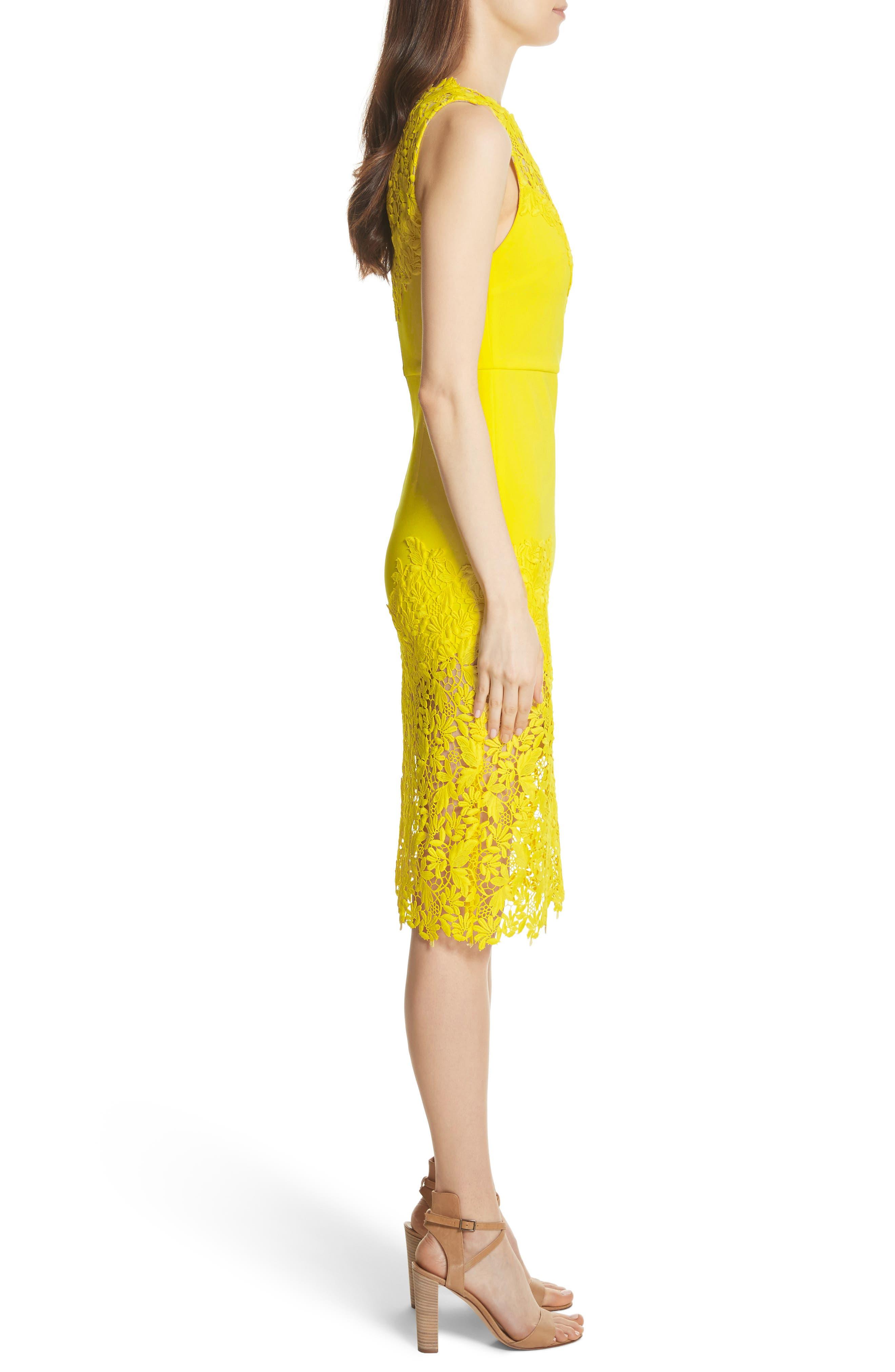 Margy Lace Overlay Body-Con Dress,                             Alternate thumbnail 3, color,                             Lemon