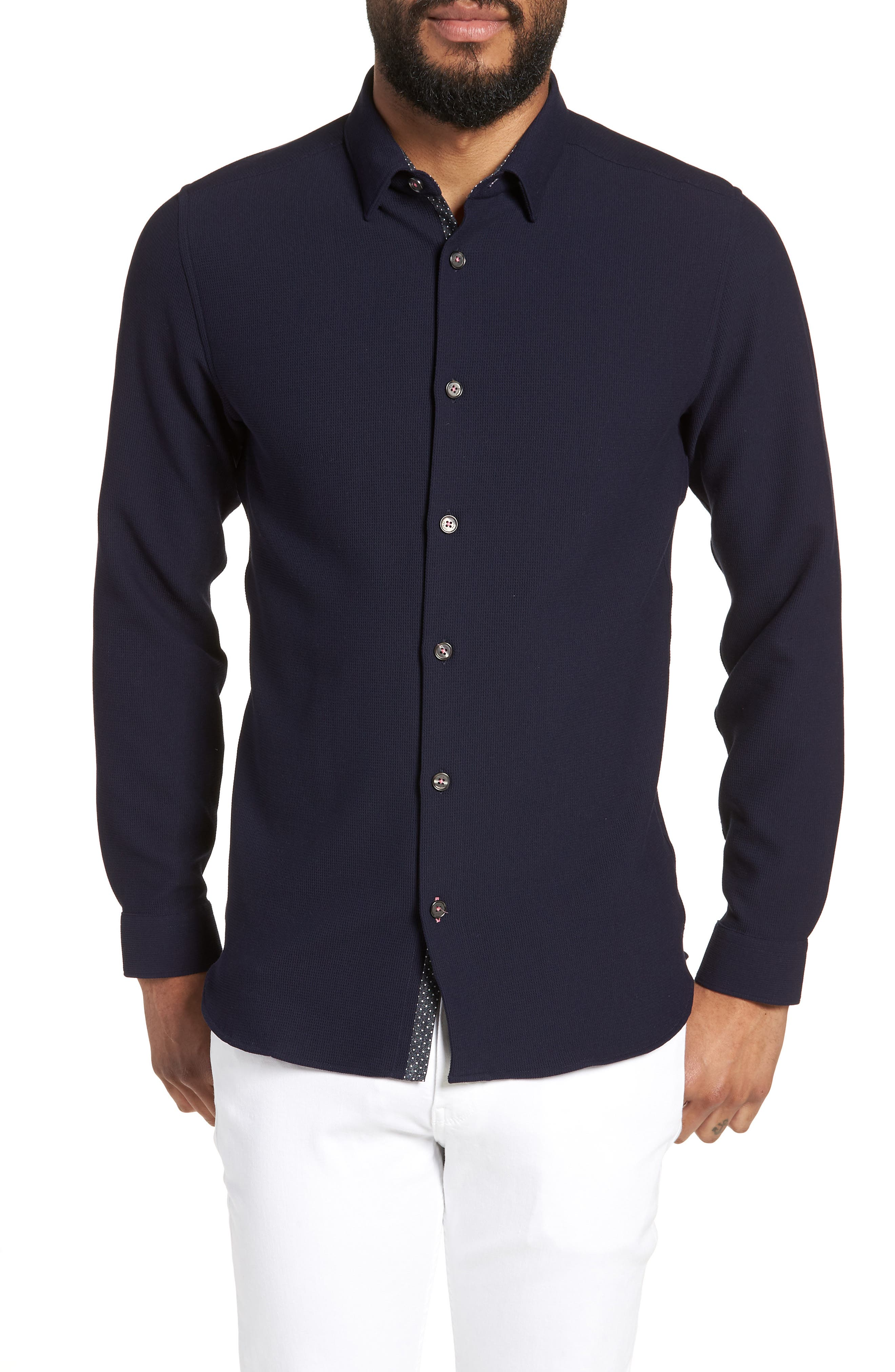 Loretax Trim Fit Stretch Knit Sport Shirt,                         Main,                         color, Navy
