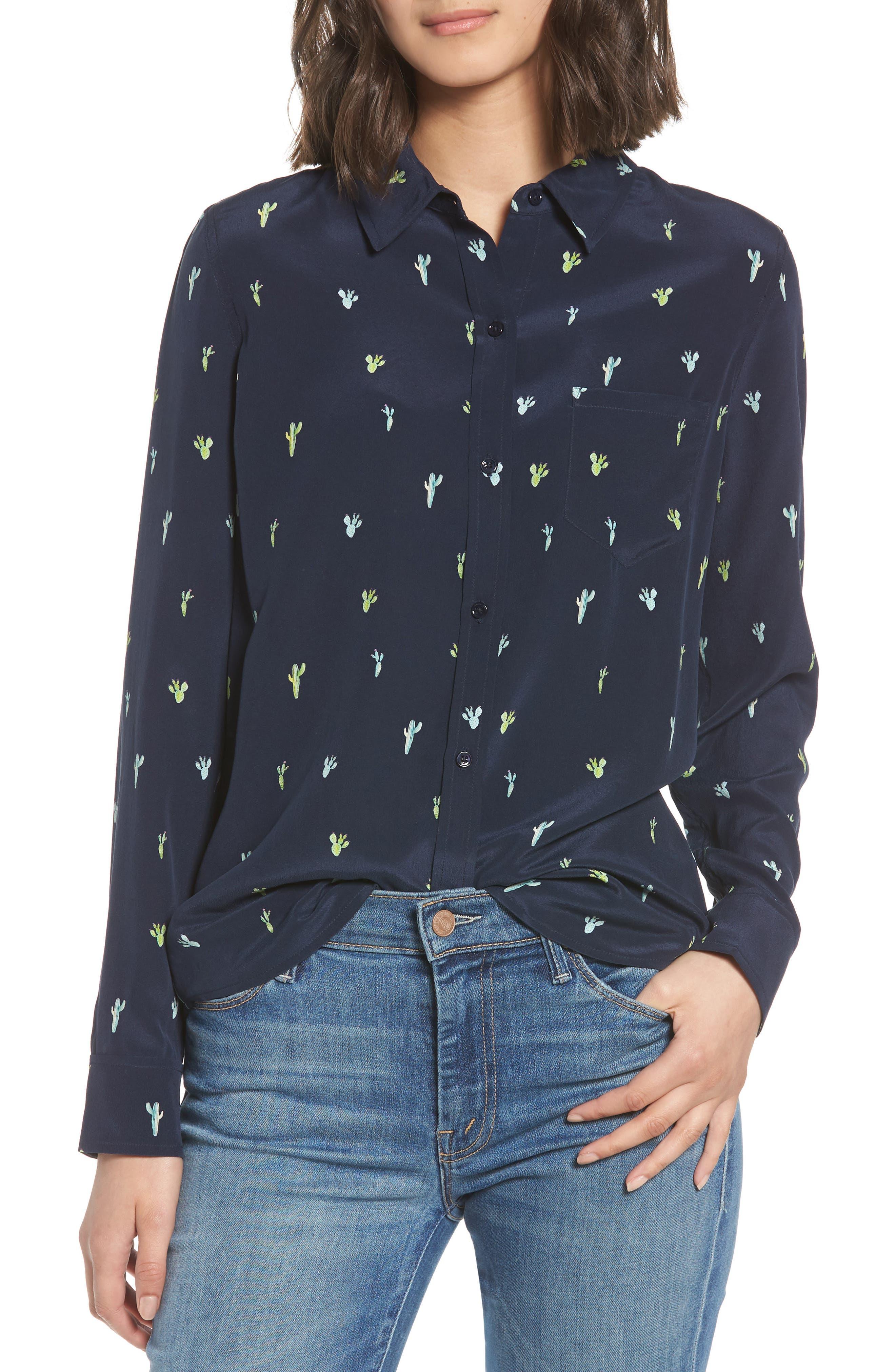 Rails Kate Cactus Print Silk Shirt